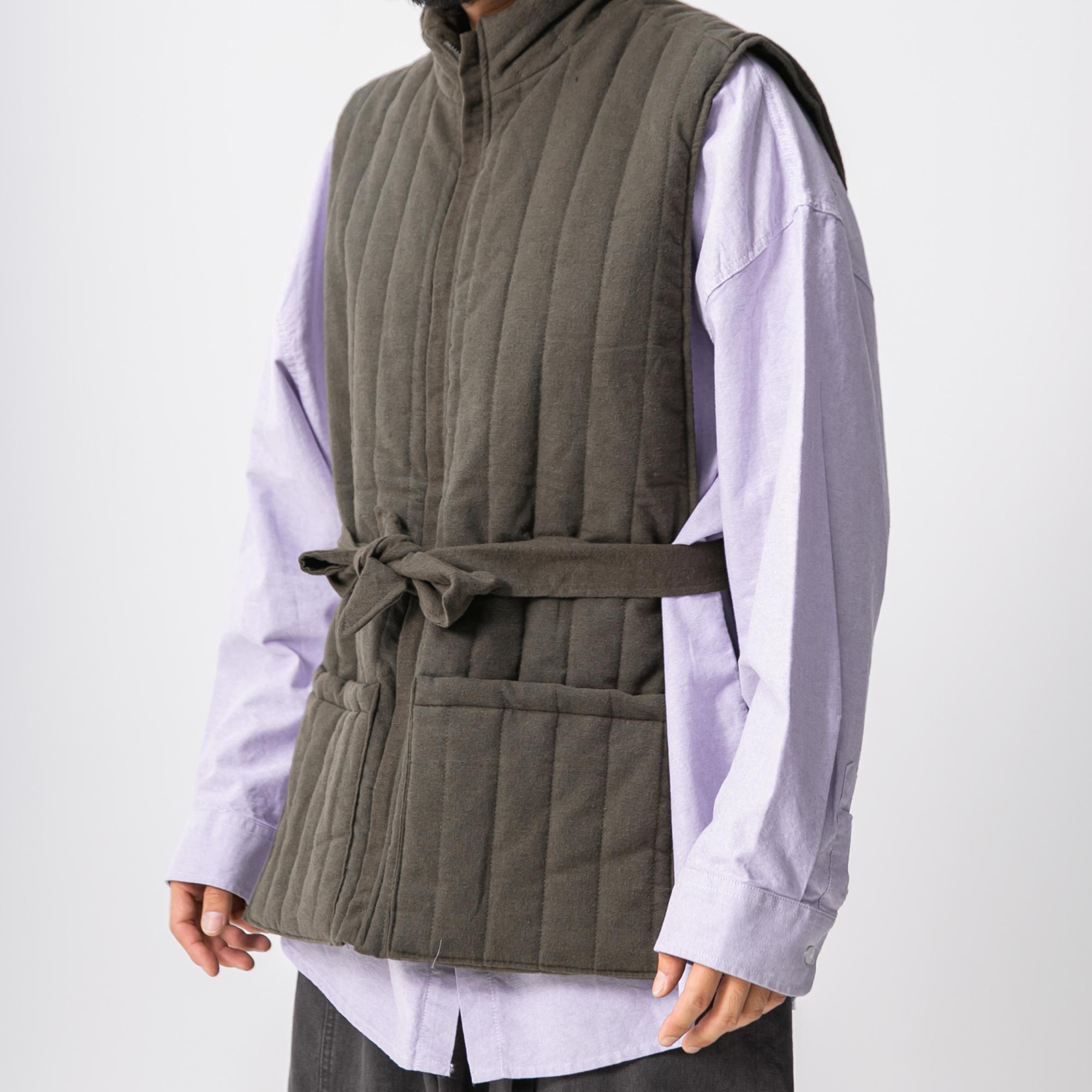Opening Robe Padding Vest - Khaki