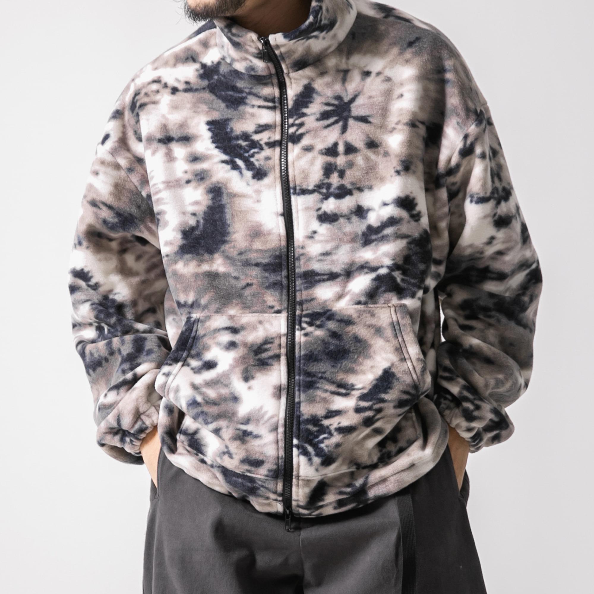 Tie-dye Polar Fleece Jacket - Grey