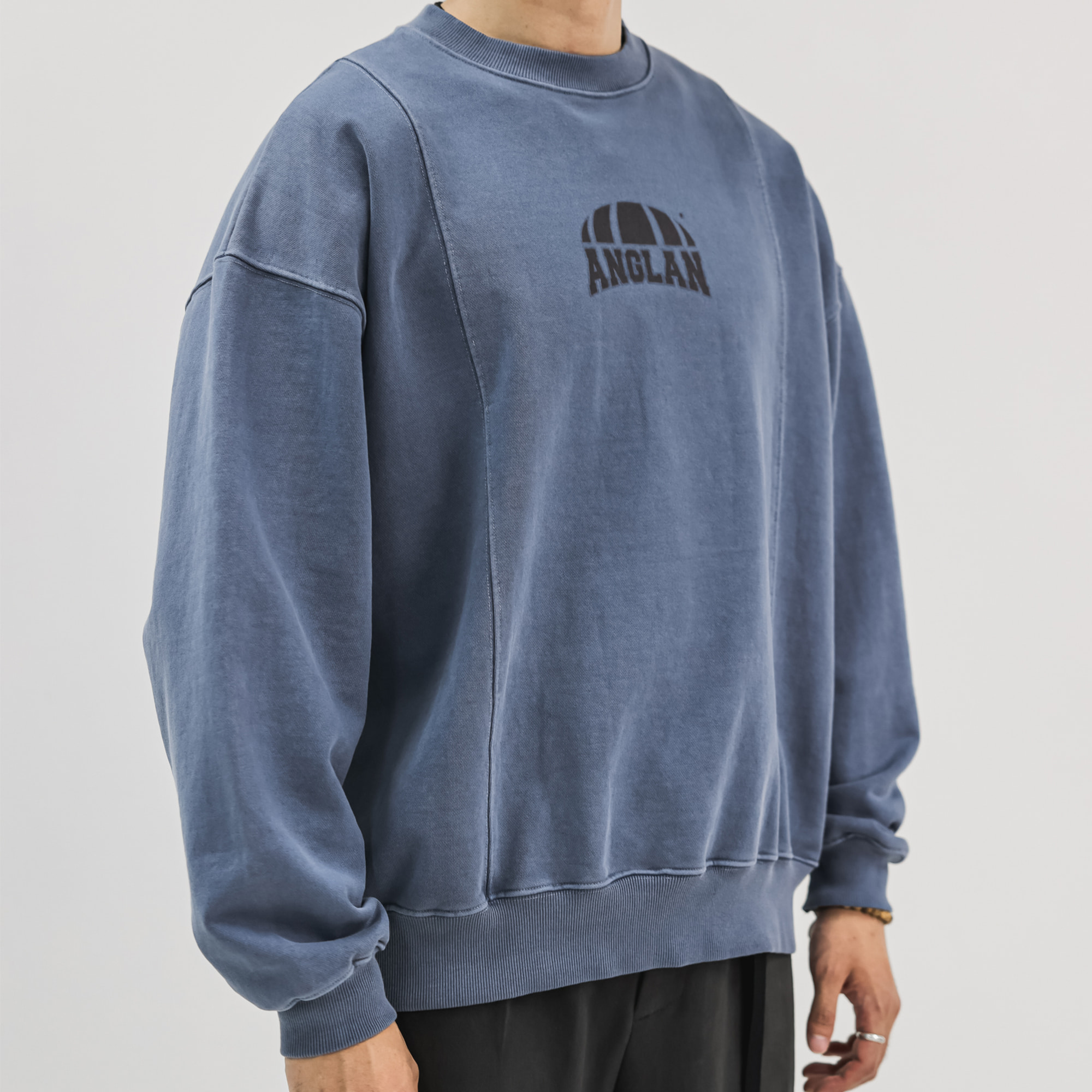 [AG] Pigment Washed Sweat Shirt - Blue