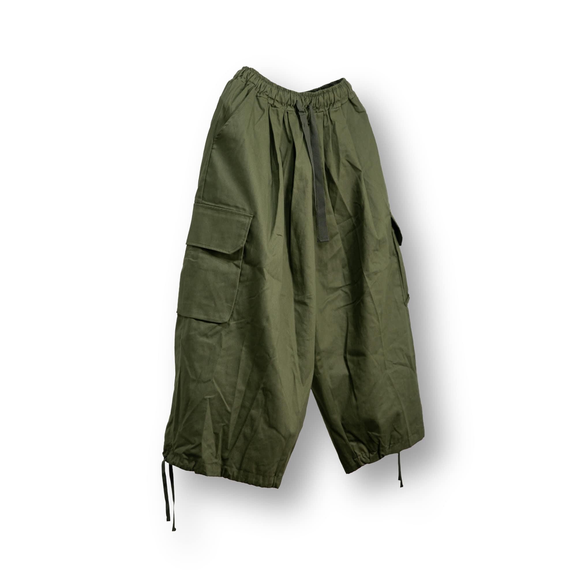 Cotton Cargo Strap Balloon Pants - Khaki