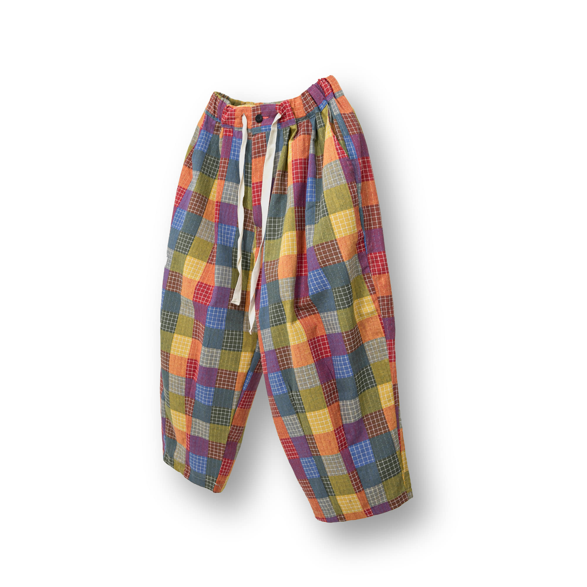 Palette Check Balloon Pants - Red