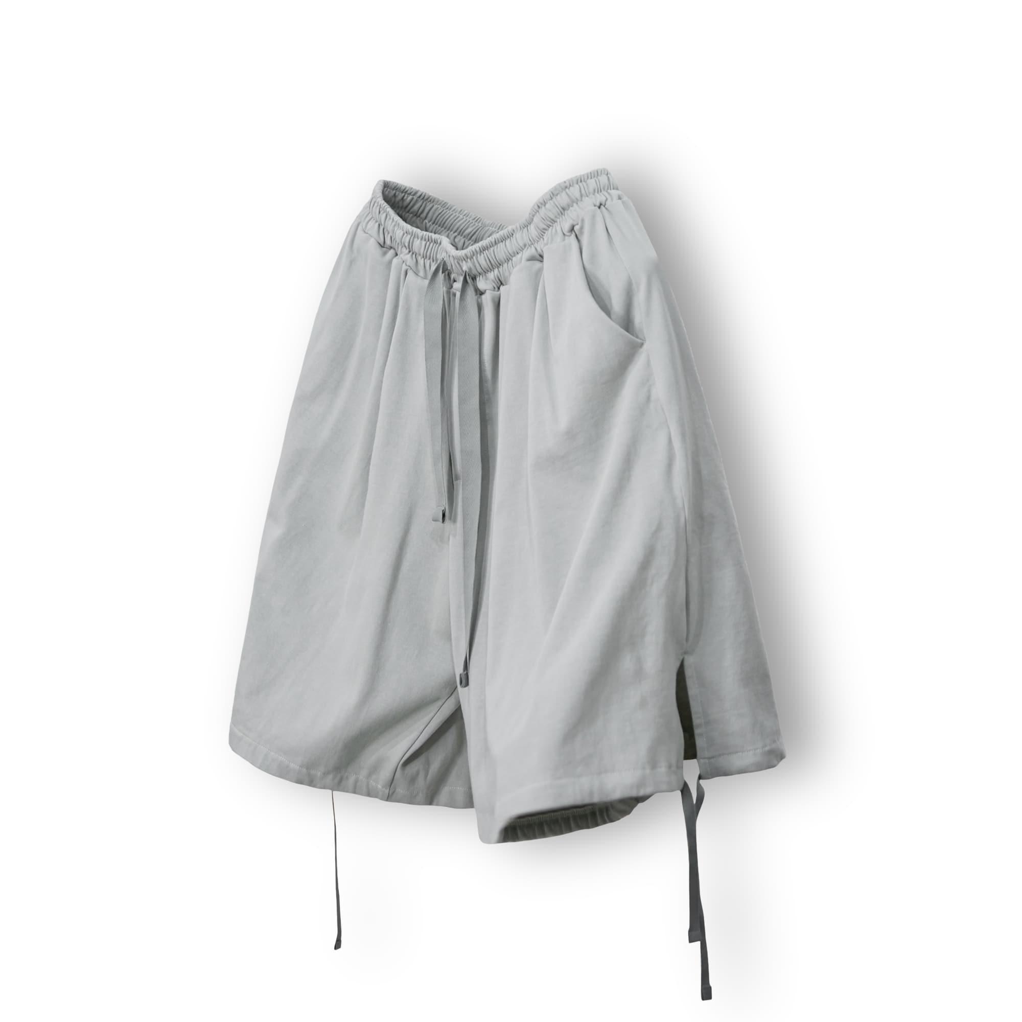 Strap Banding Half Pants - Grey