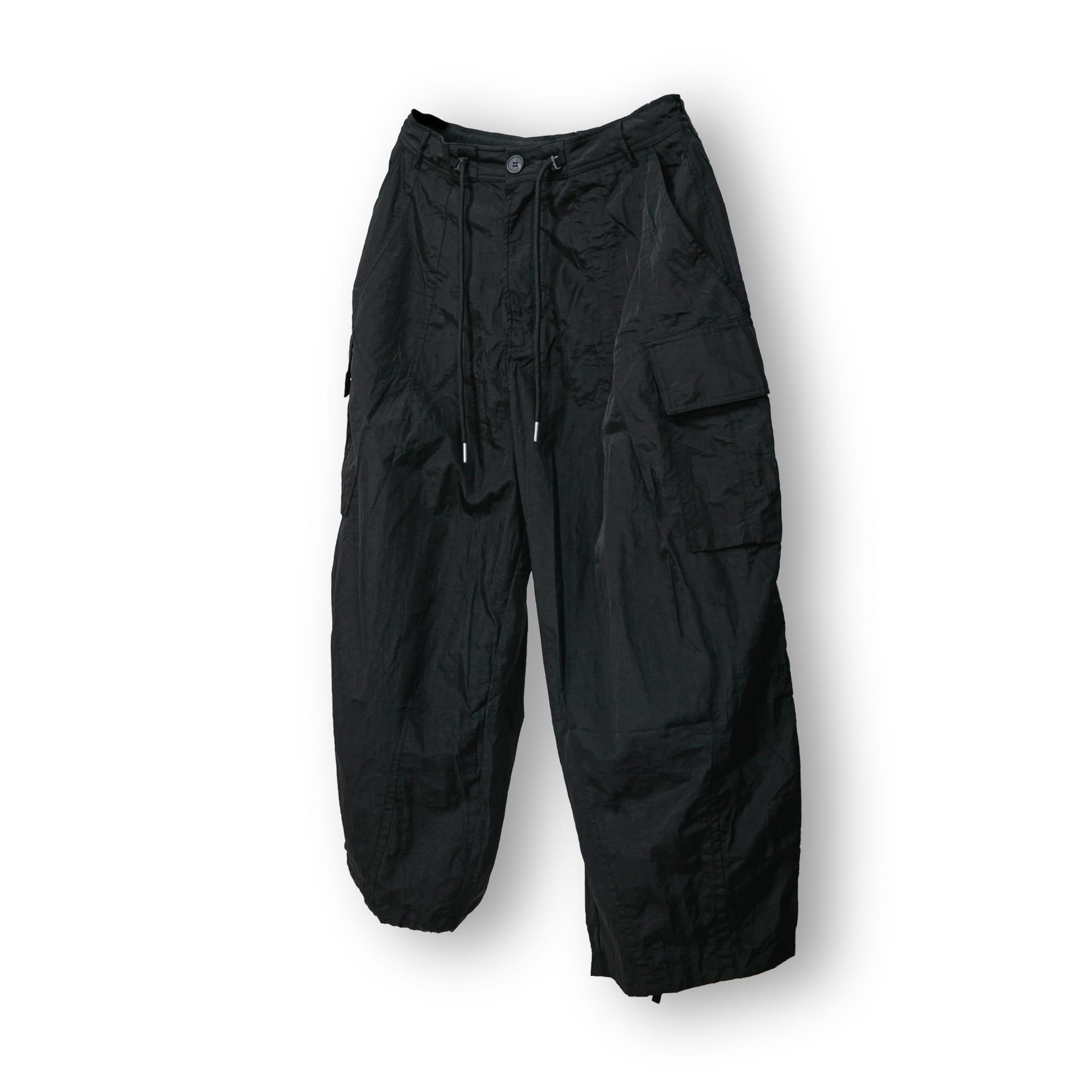 Nylon Touch Cargo Balloon Pants - Black