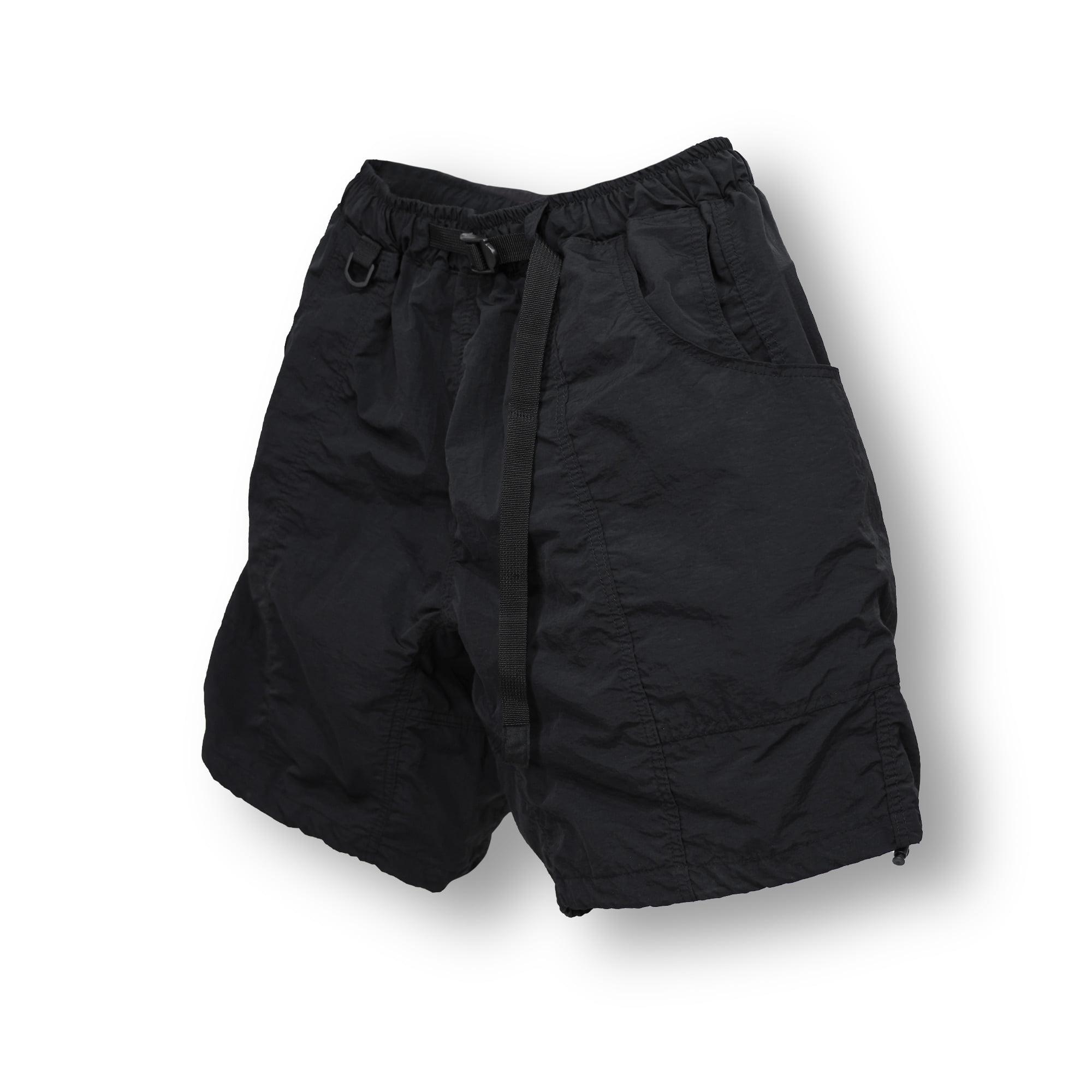 Buckle Nylon Wide Half Pants - Black