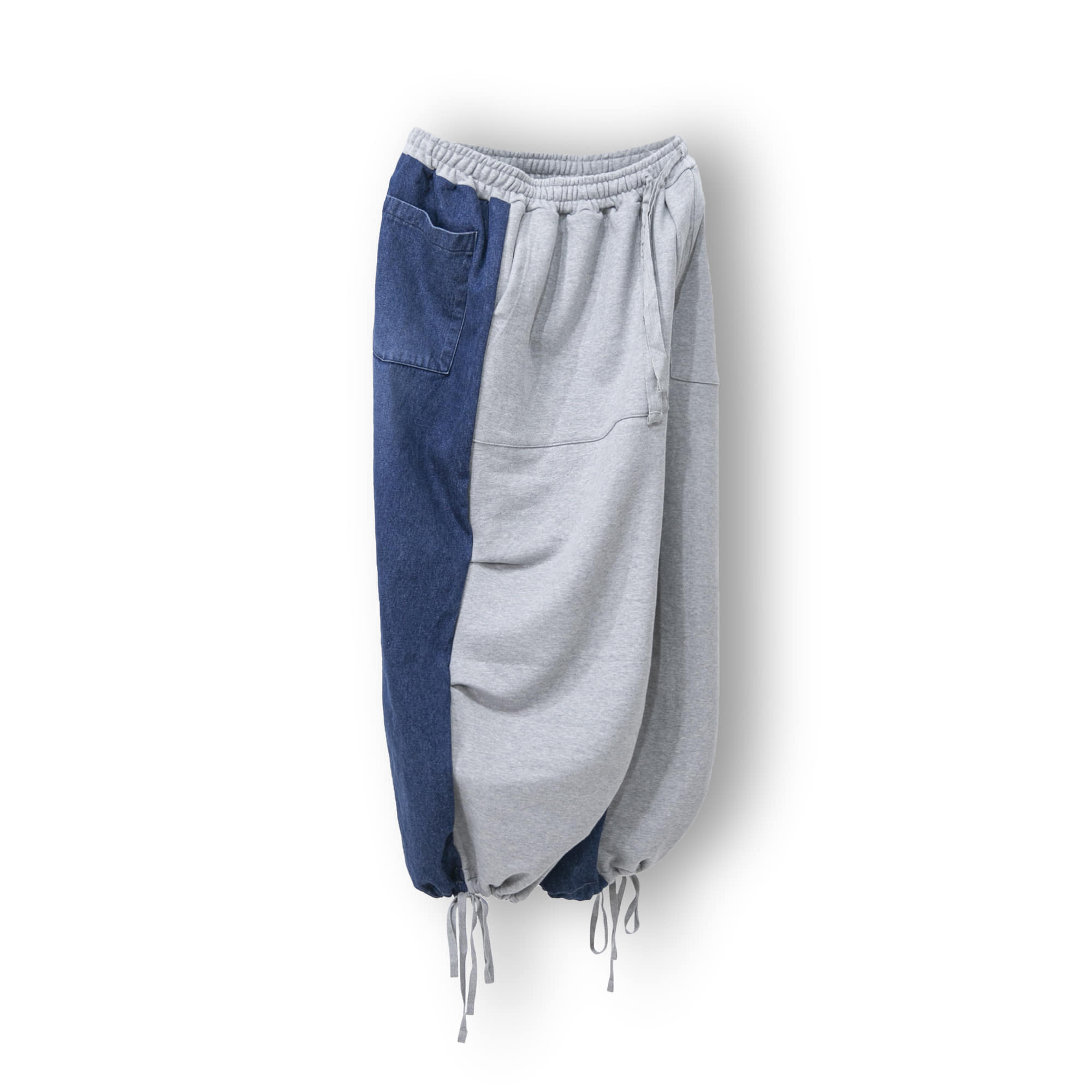 Sweat Twist Denim Wide String Pants - Dark Blue