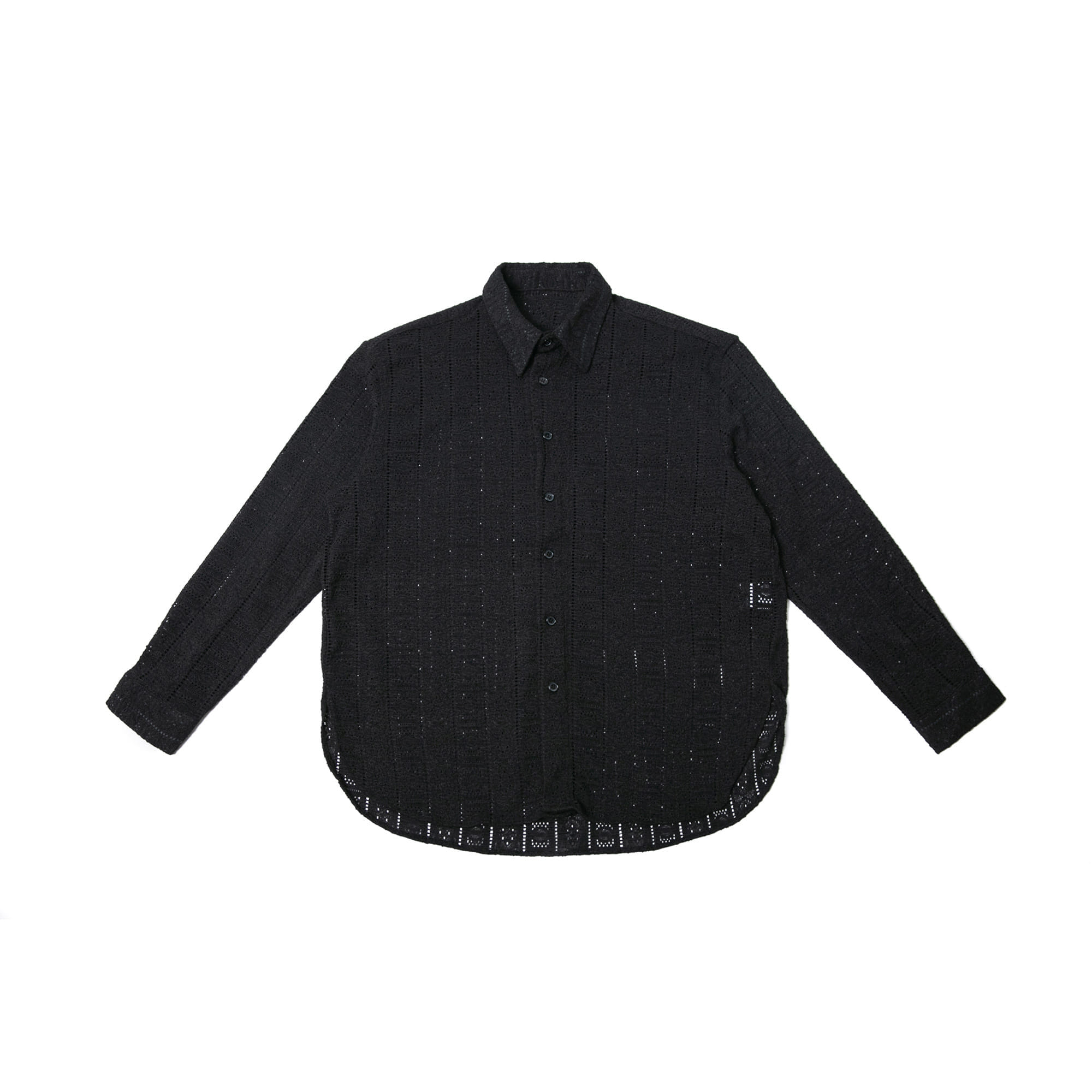 Lace Over Shirt - Black