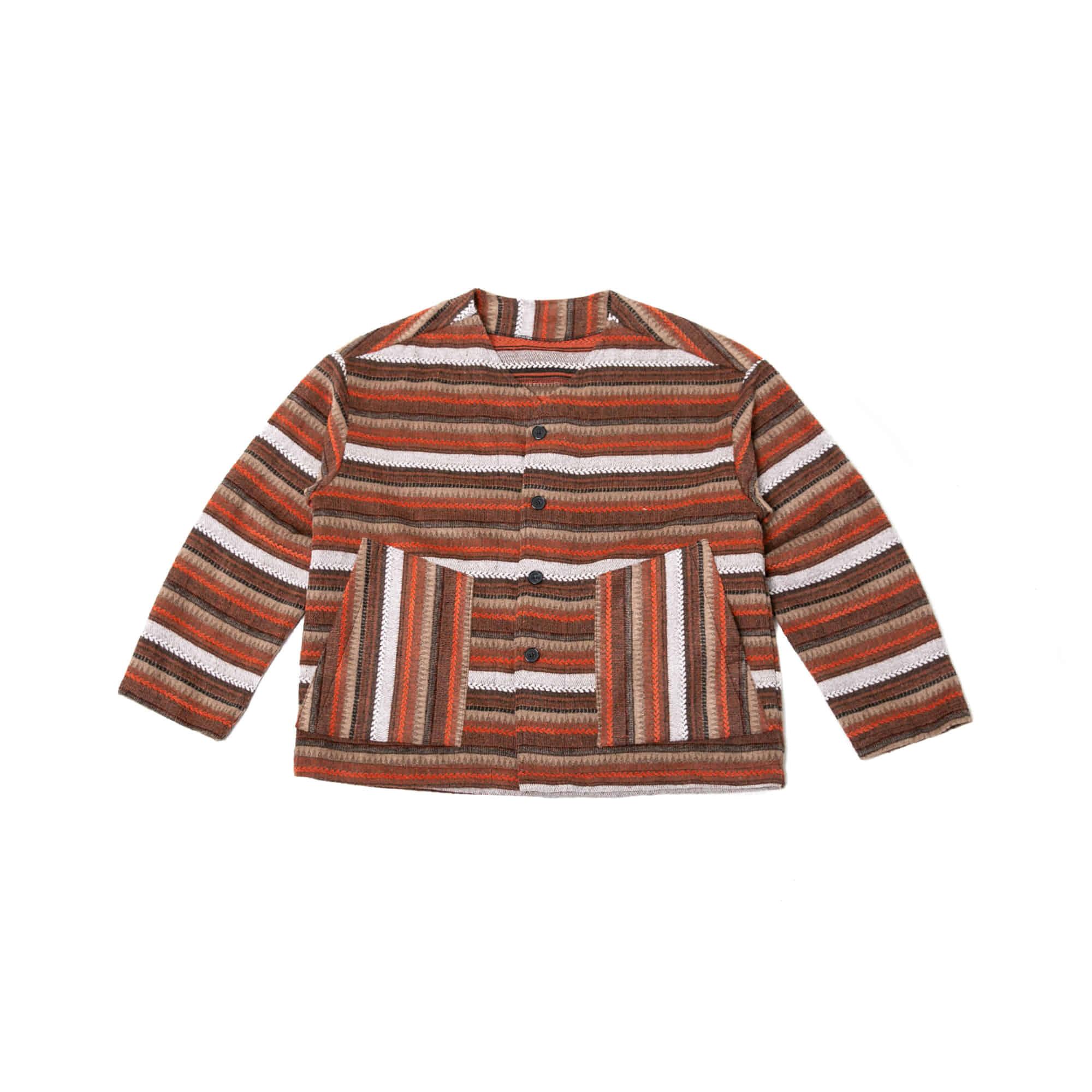 Ethnic Stripe Over Cardigan - Orange
