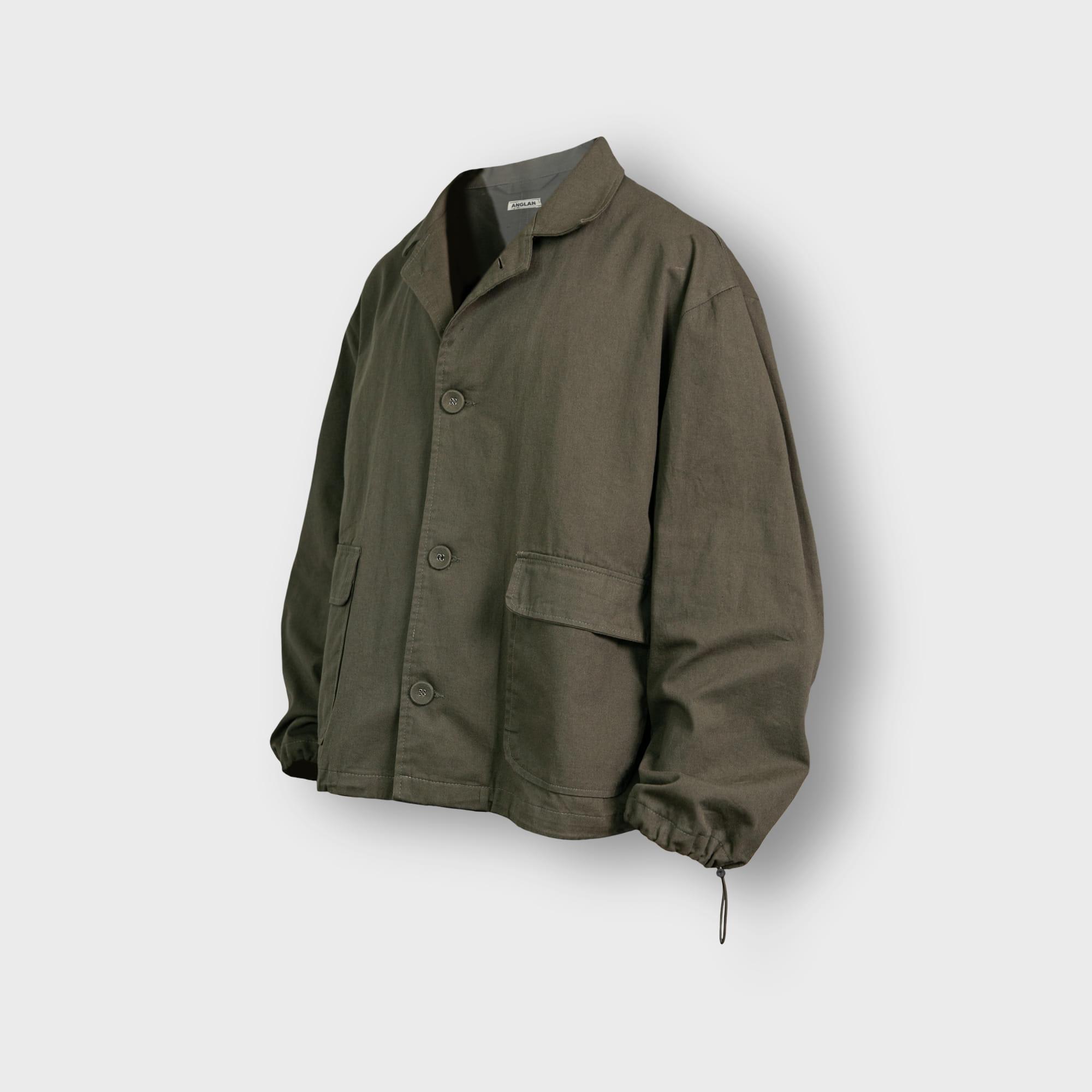[AG] Twill Cotton String Shirt Jacket - Khaki