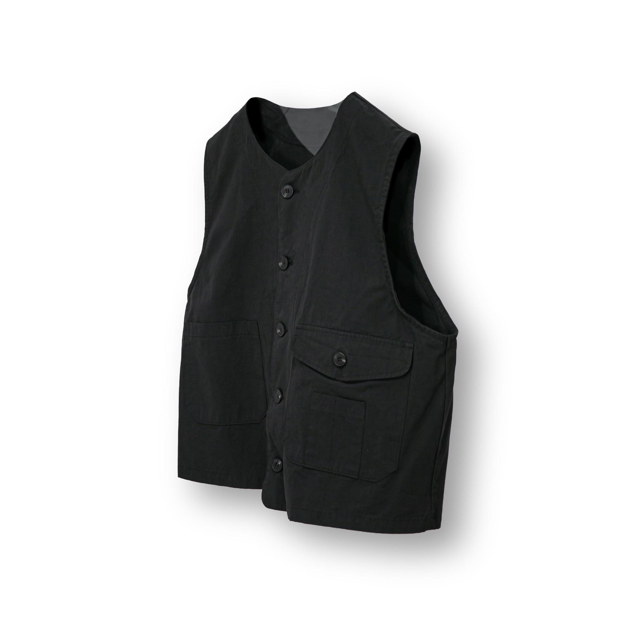 Utility Pocket Cotton Wide Vest - Black