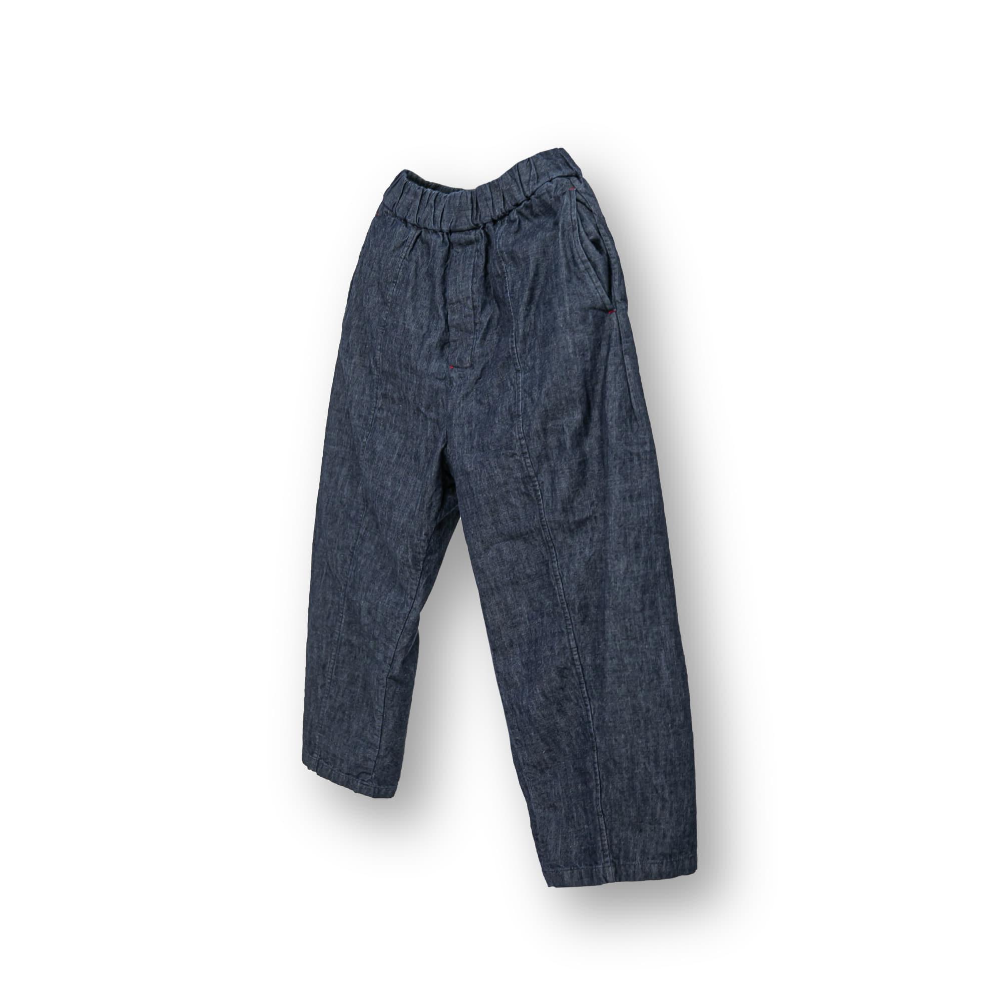 Straight Wide Denim Pants - Dark Blue