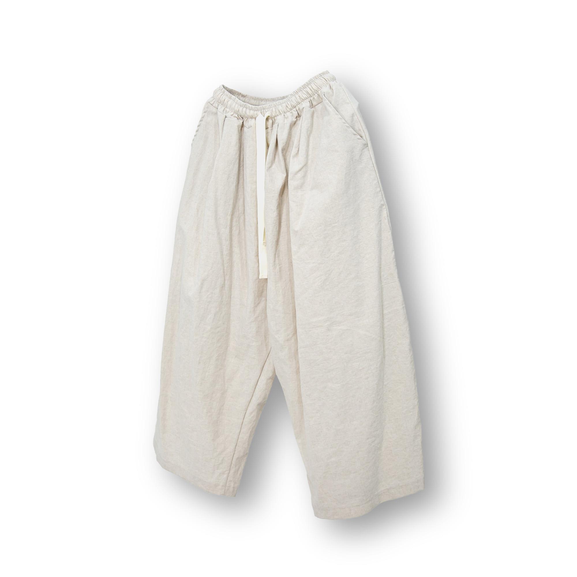 Linen Wide Hakama Easy Pants - Ivory