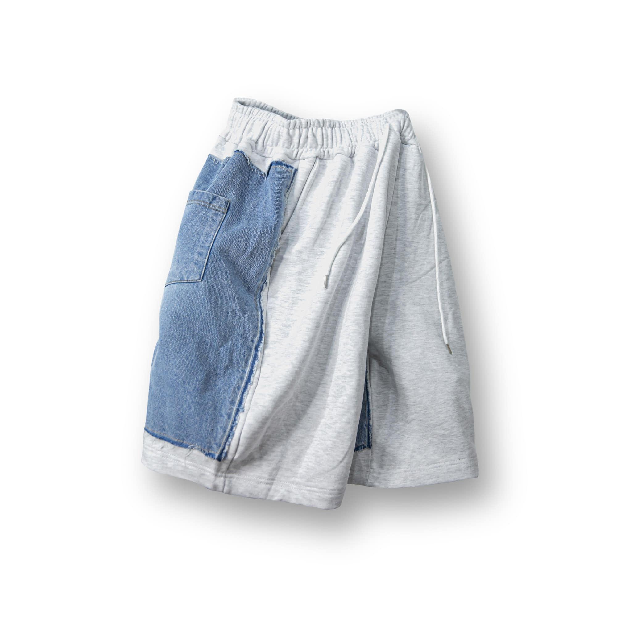 Sweat Twist Denim Half Pants - Melange Grey