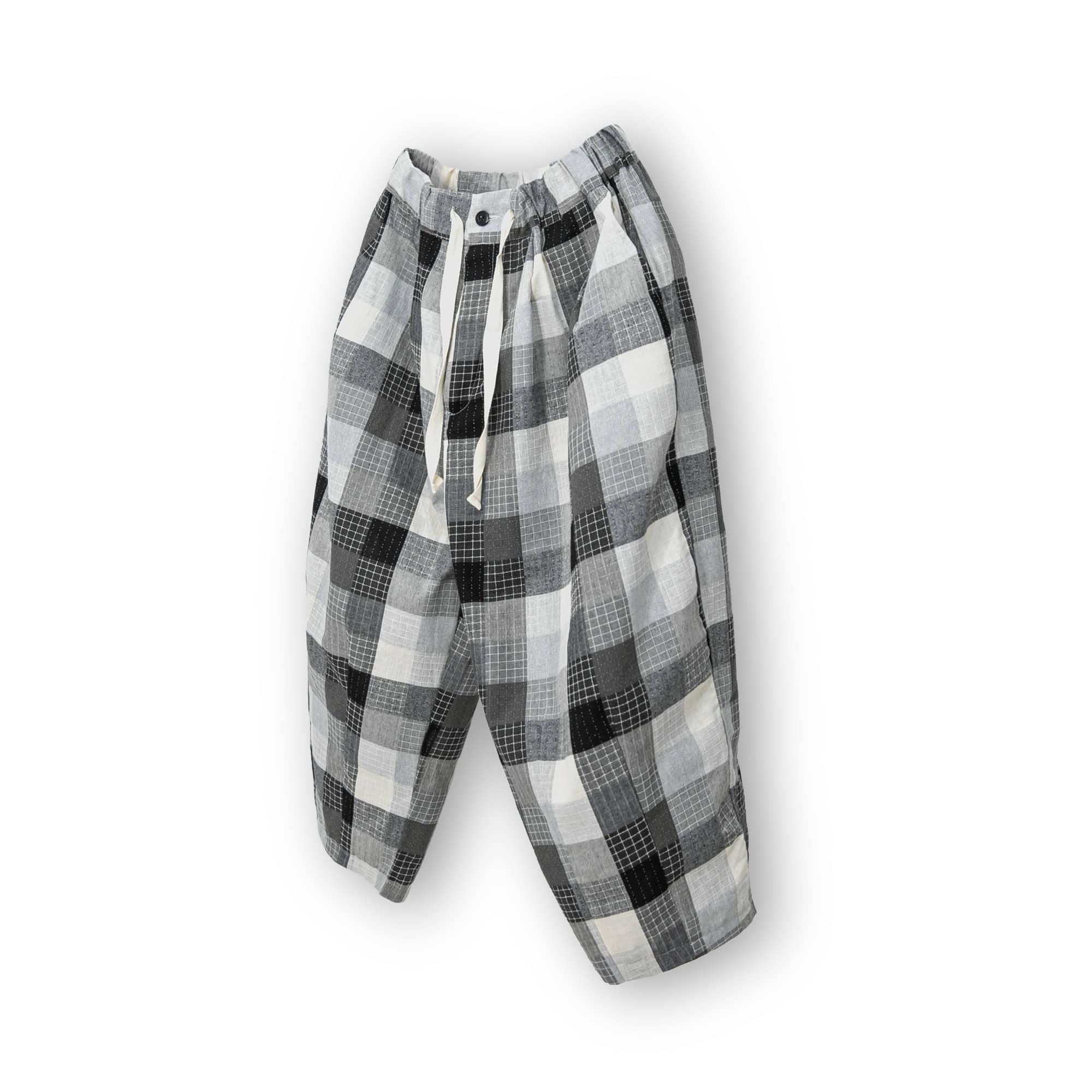 Palette Check Balloon Pants - Black