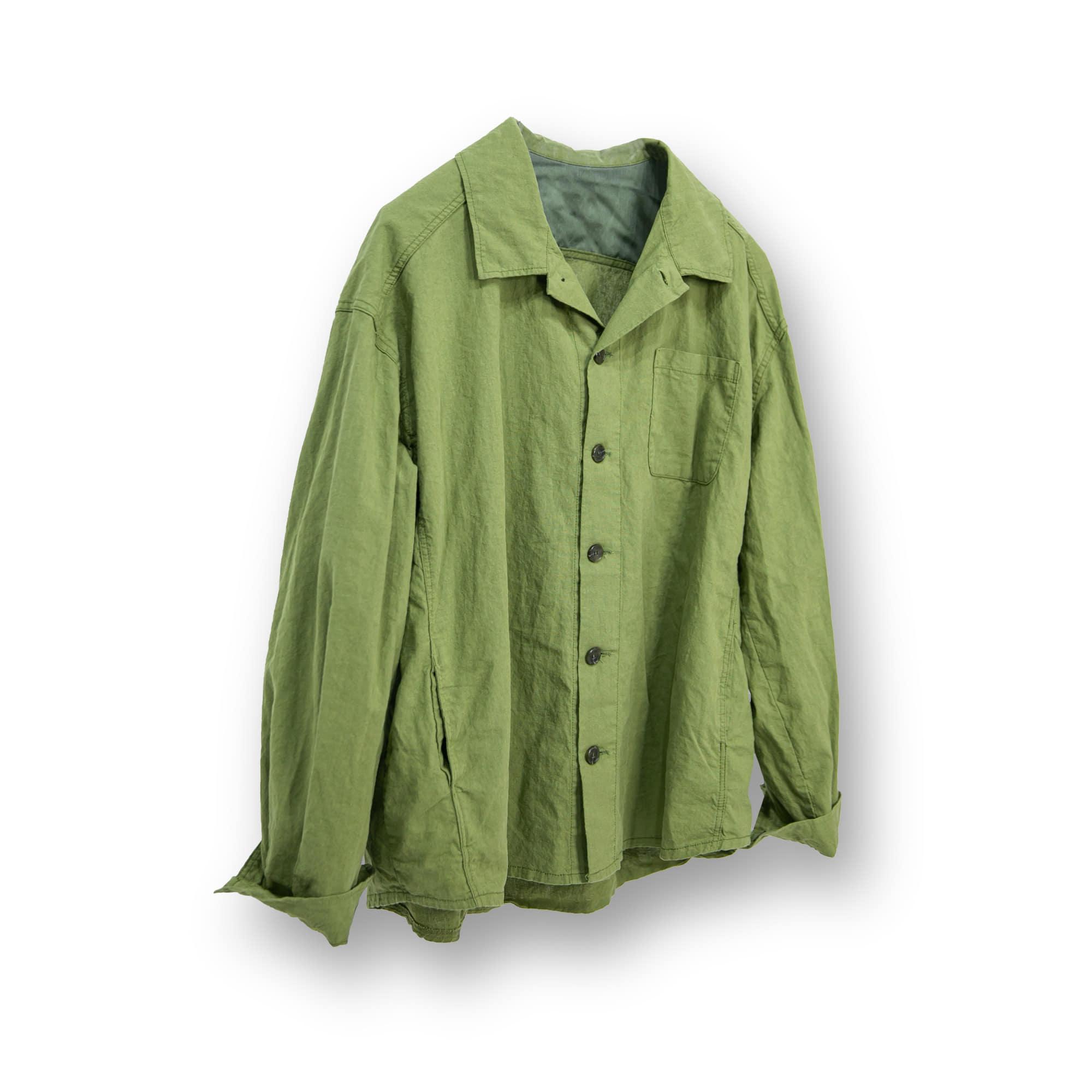Linen Big Button Over Shirt - Khaki