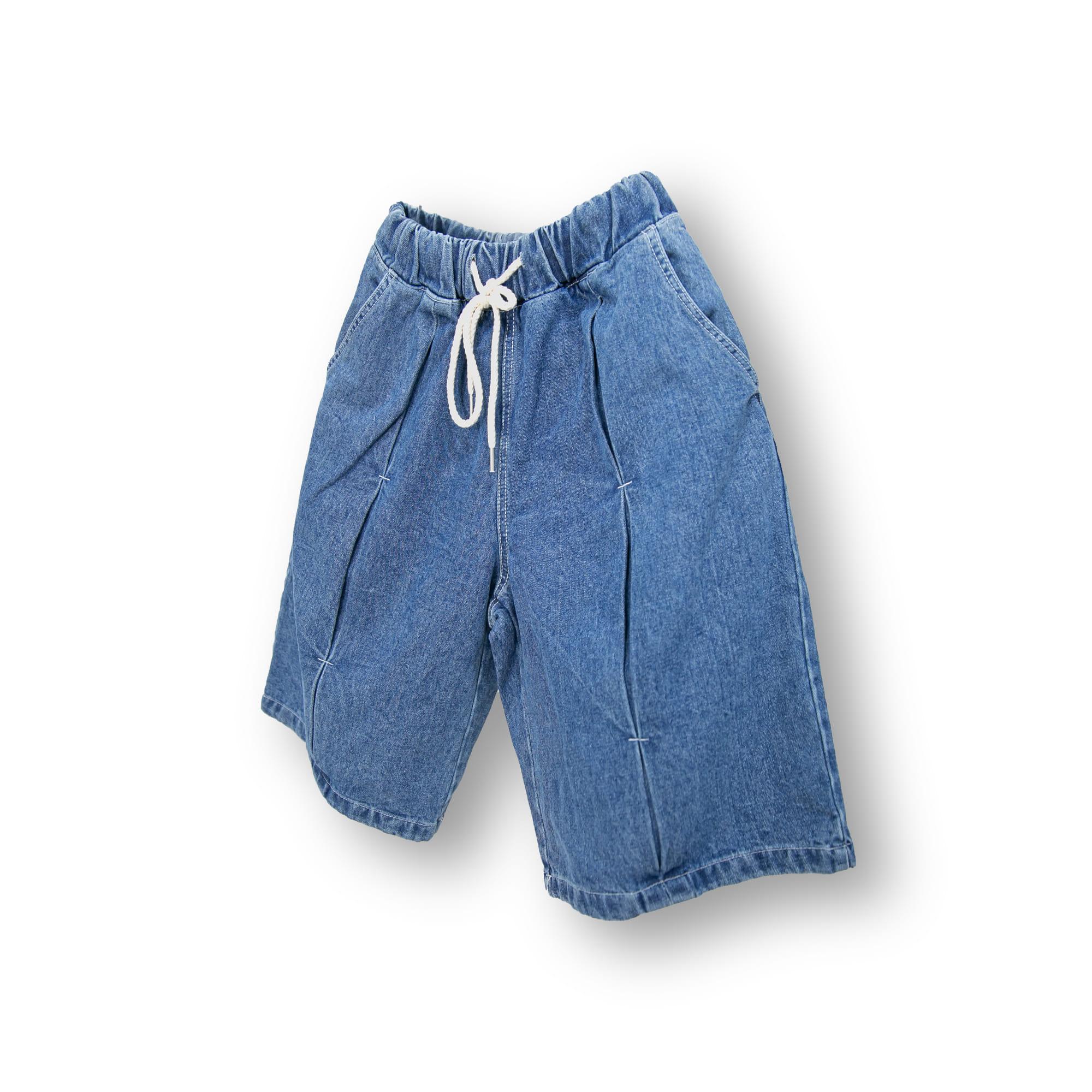 Butterfly Denim Half Pants - Blue