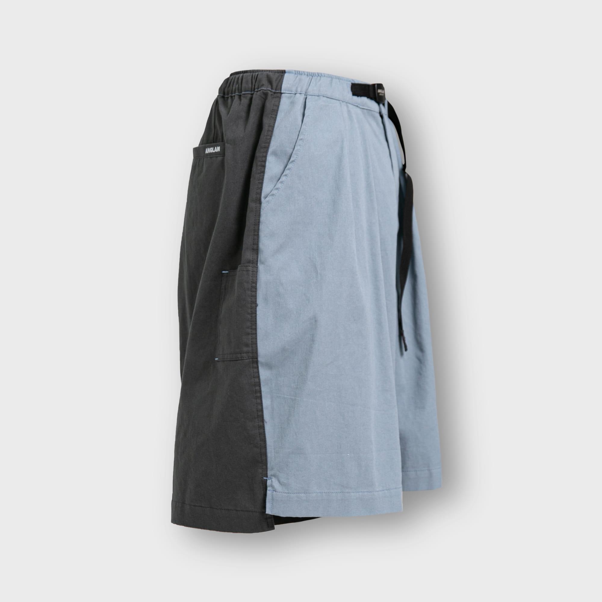 [AG] Arrange Belt Wide Trim Half Pants - Blue & Grey