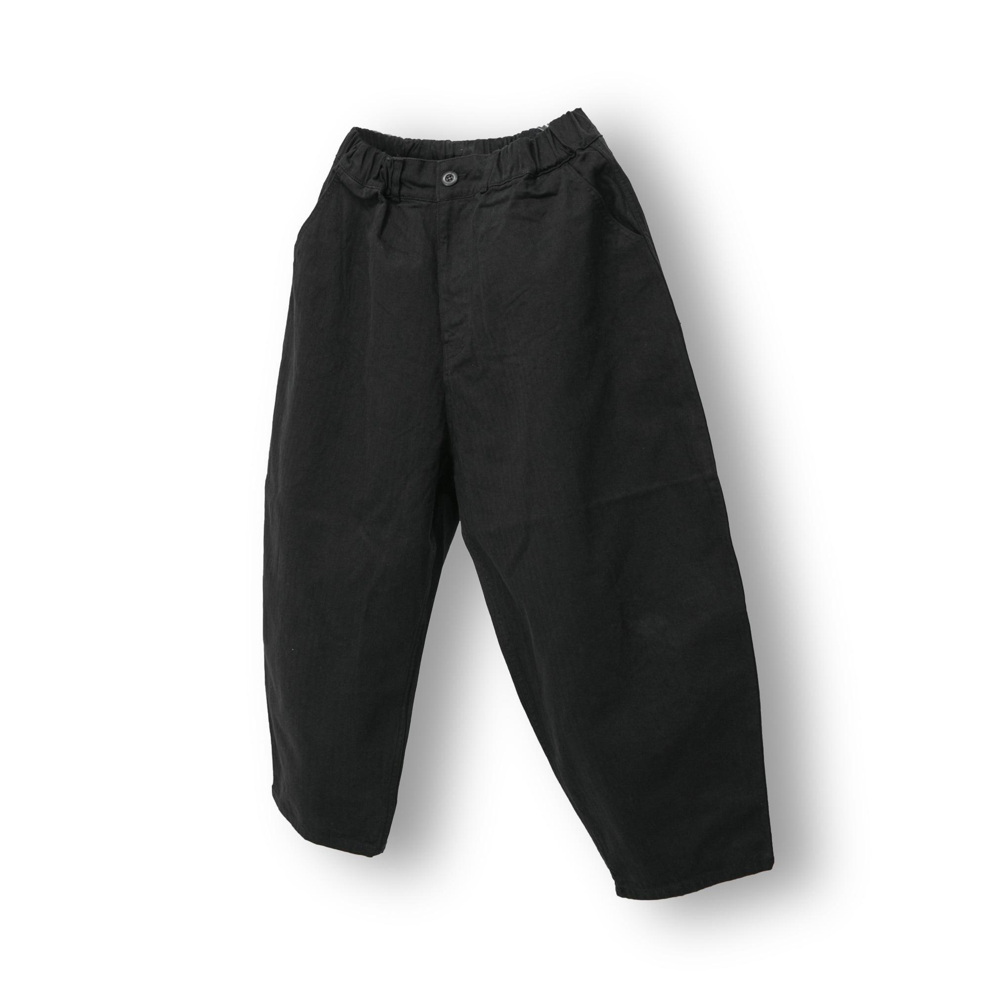 Herringbone Volume Wide Pants - Black