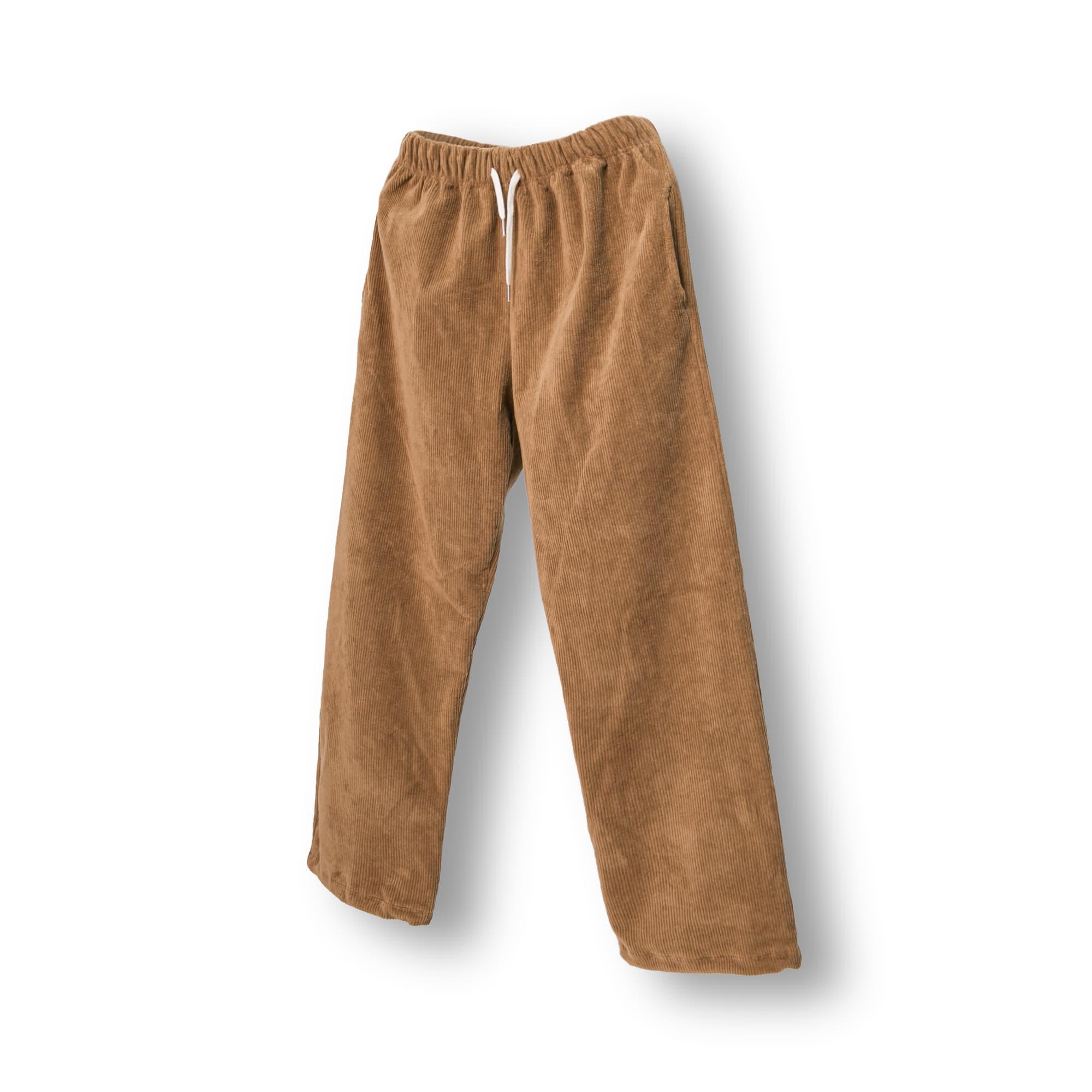 Corduroy String Wide Pants - Brown