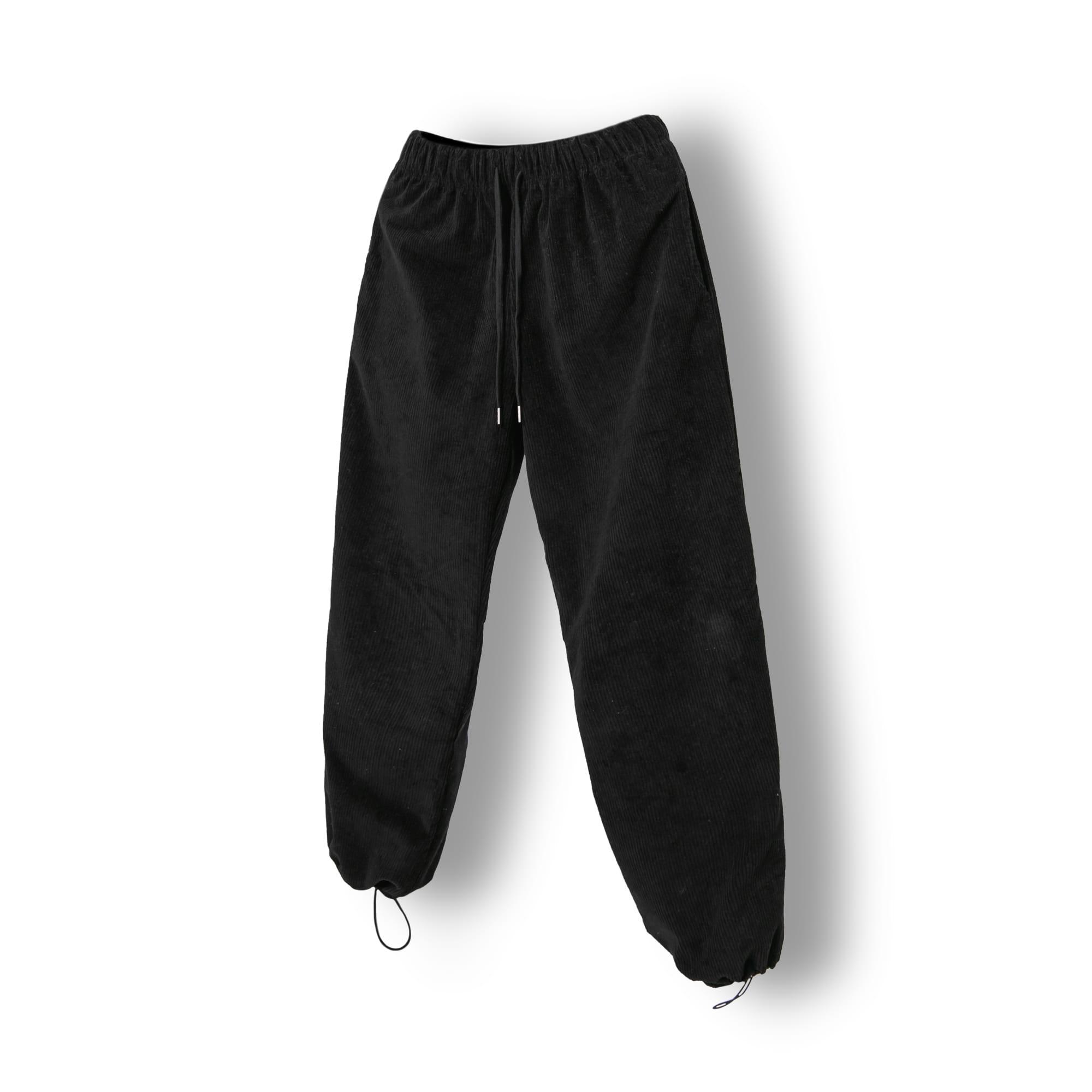Corduroy String Wide Pants - Black