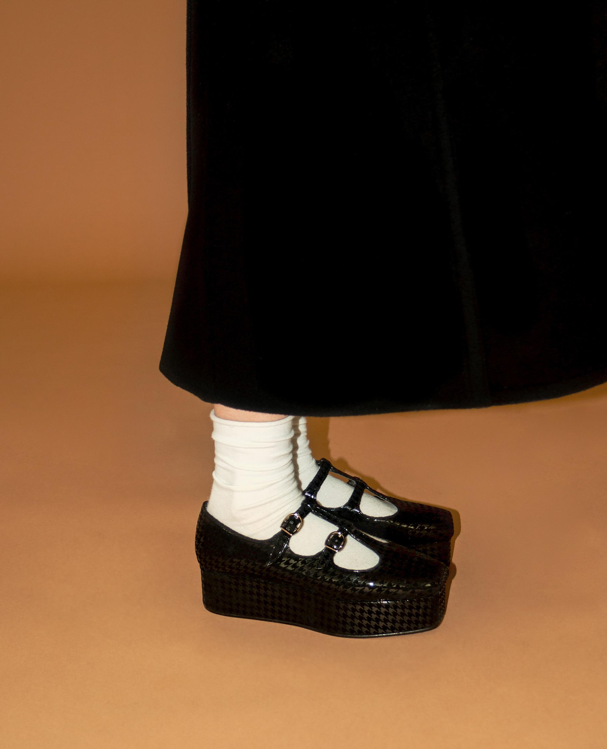 Ballet Toe T-strap platforms | Black houndstooth