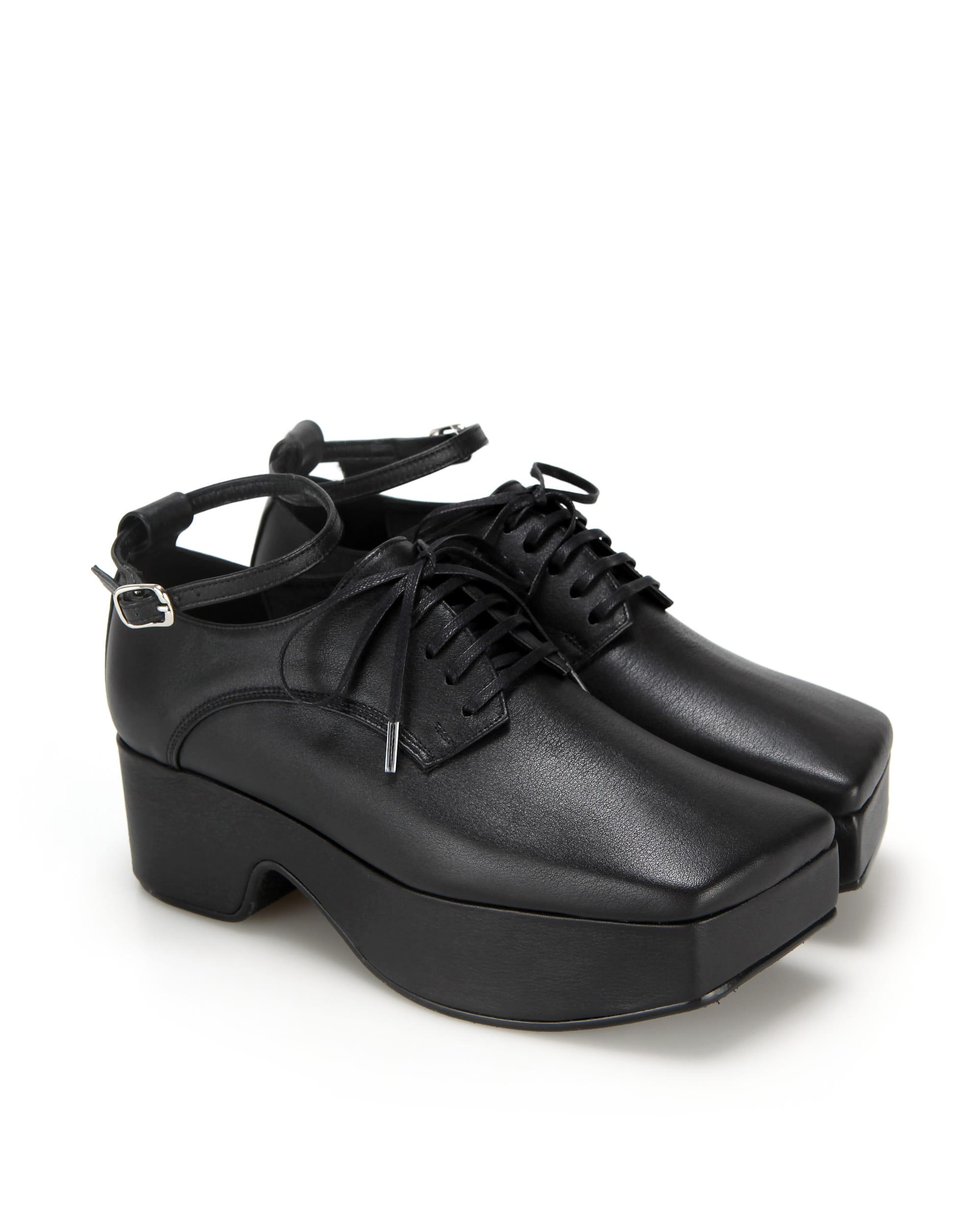 Squared toe derby platforms (+ball chain) | Black