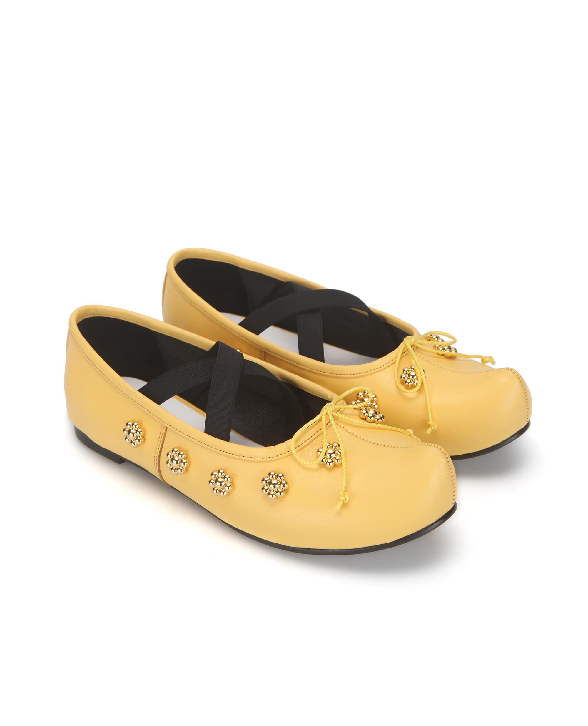 Pointed toe flower ballerinas | Yellow