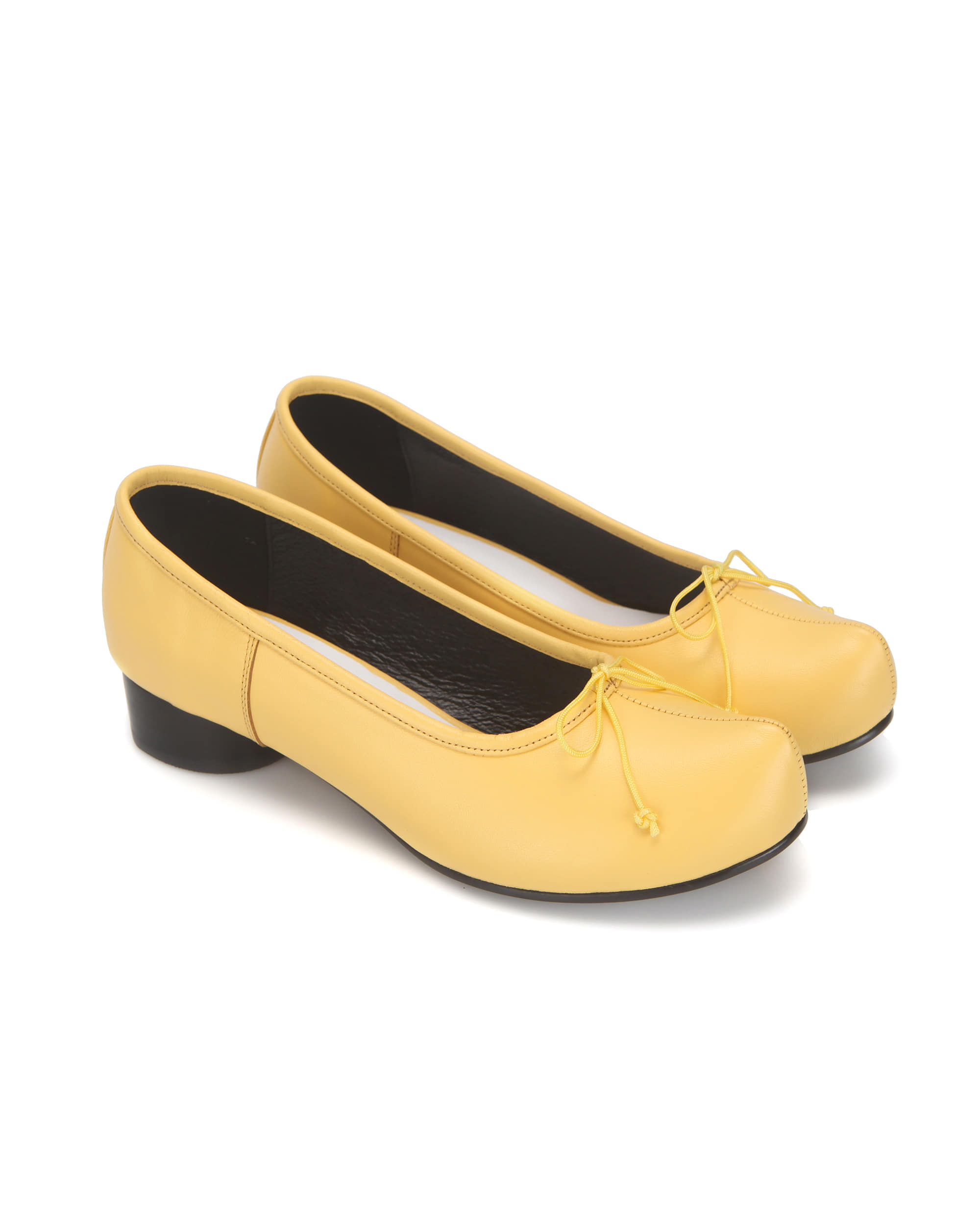 Pointed toe ballerina pumps | Yellow