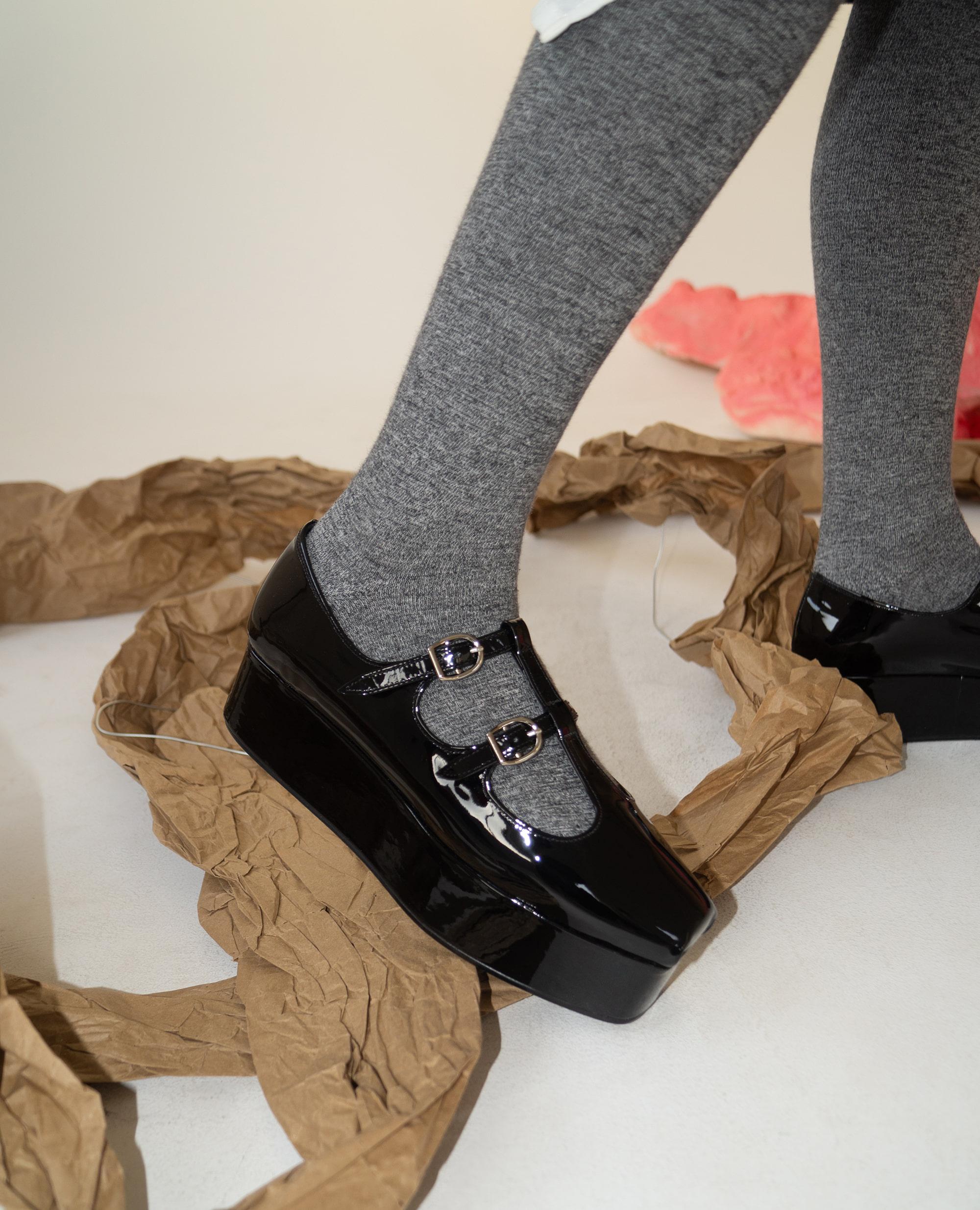 Ballet Toe T-strap platforms | Glossy black