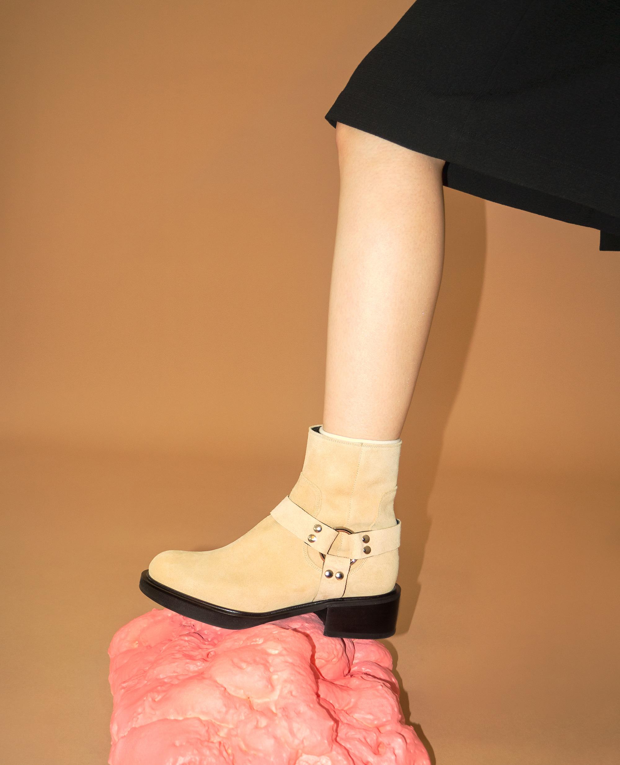 Almond Toe Harness Boots | Deep beige