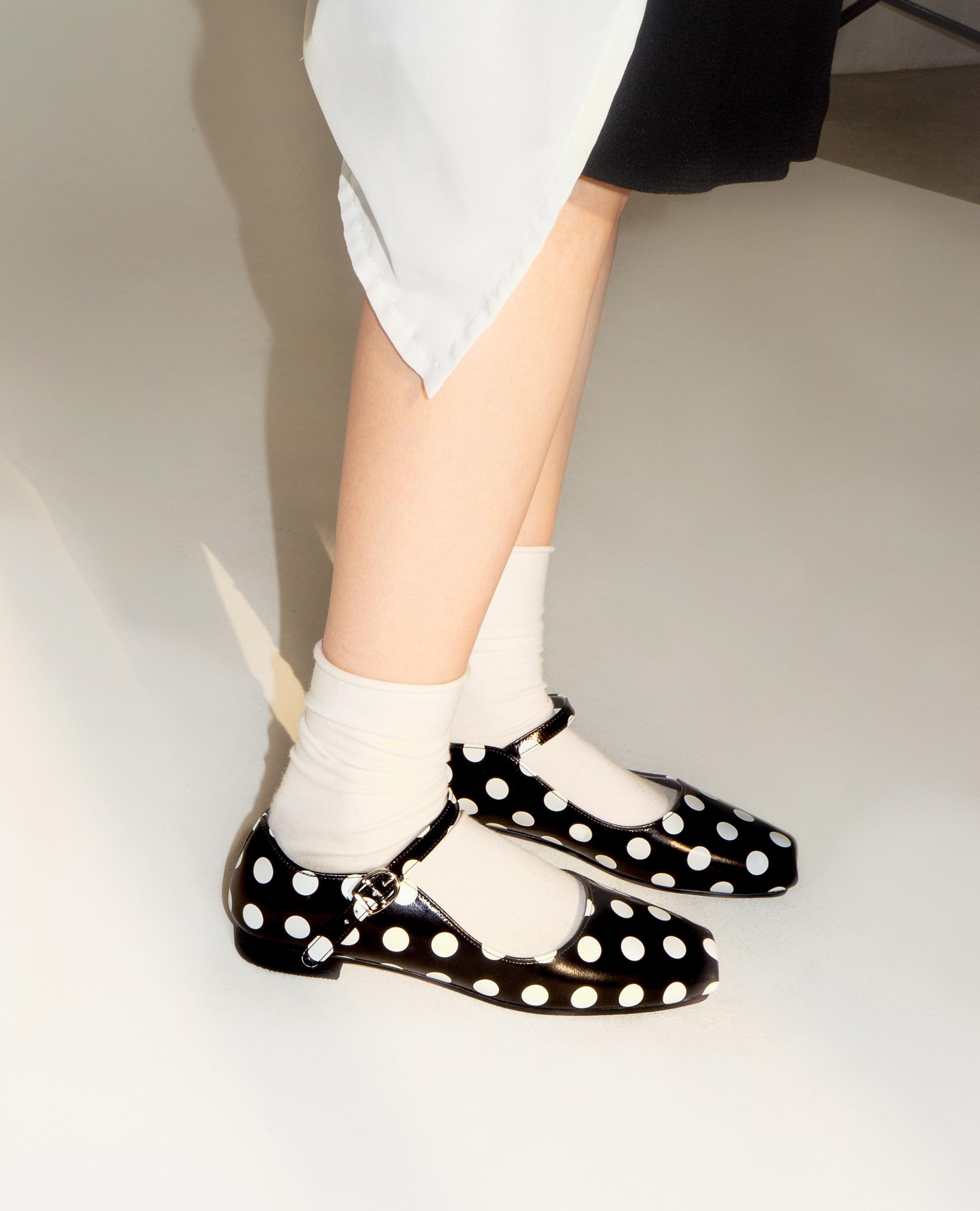 Ballet Toe Mary jane Flats | Polka dot