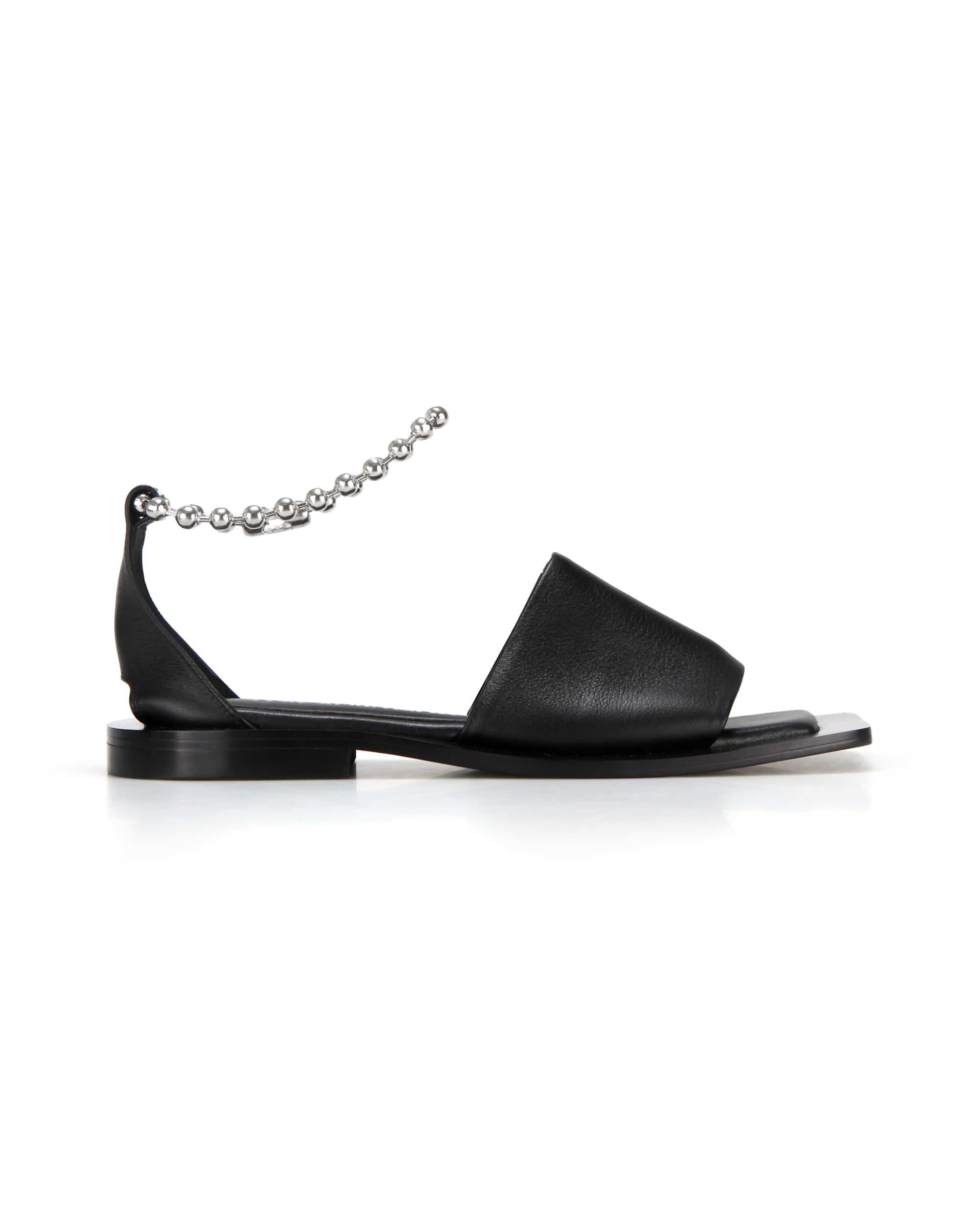 Wide square sole slide sandals | Black