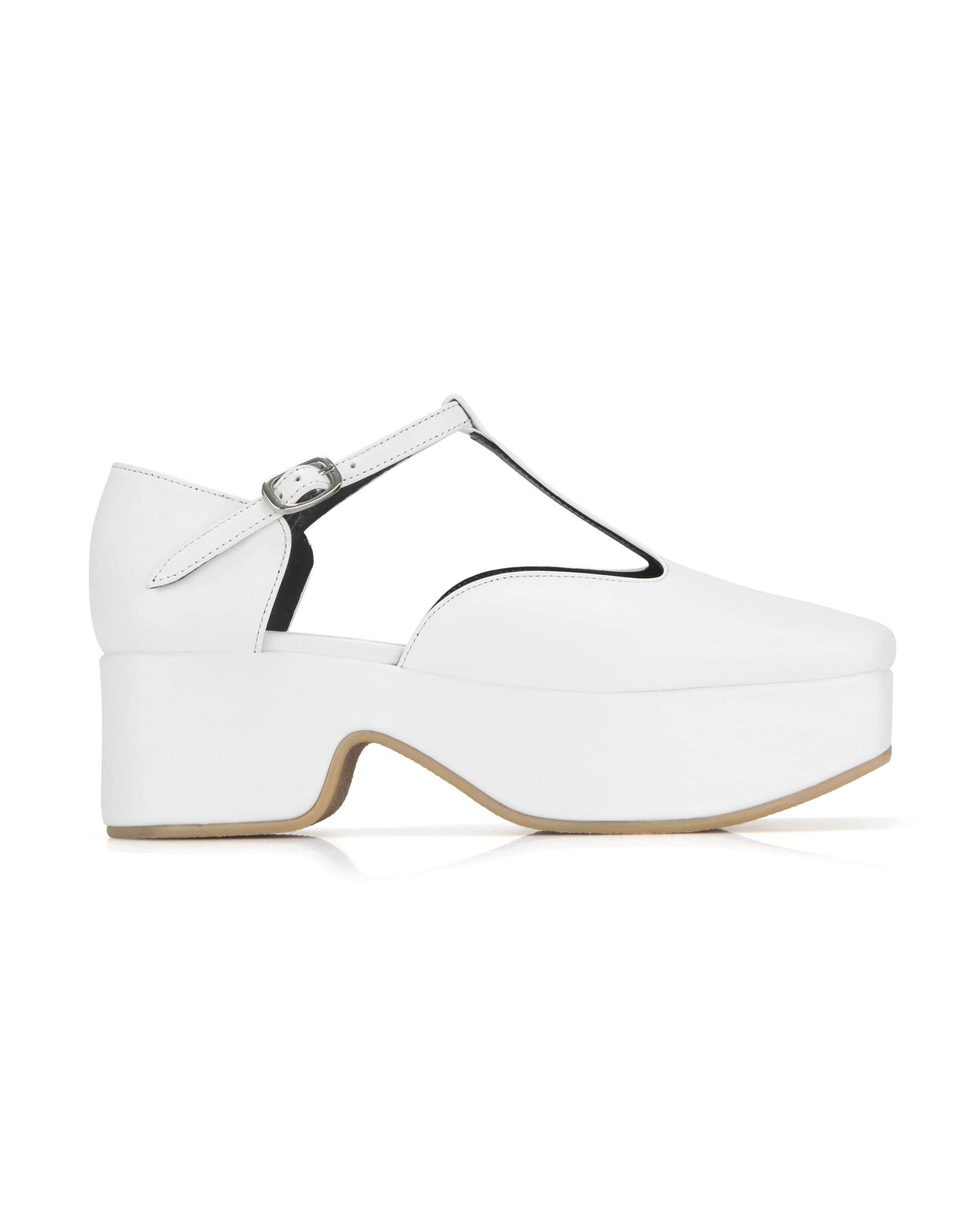 Squared toe T-strap mary jane platforms | White