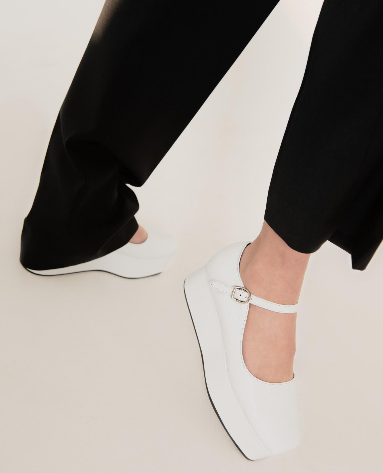 Ballet Toe Mary Jane Platforms | White