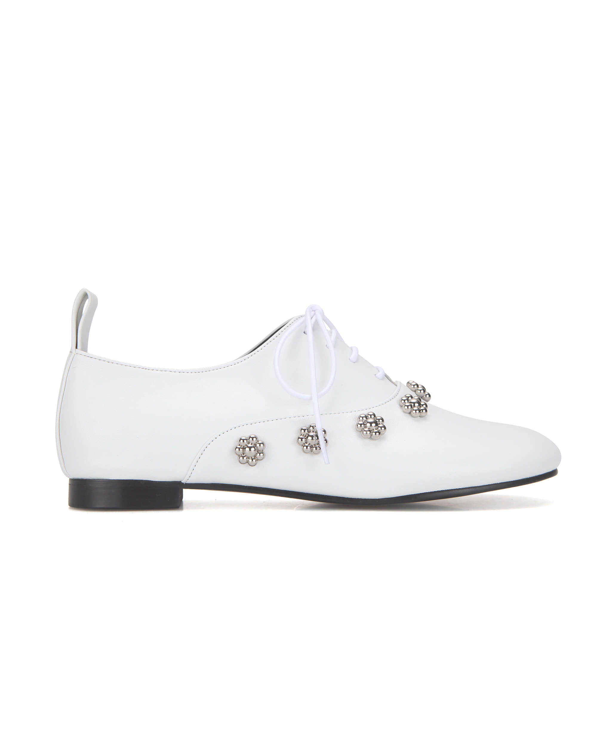 Pebble toe flower oxfords | White