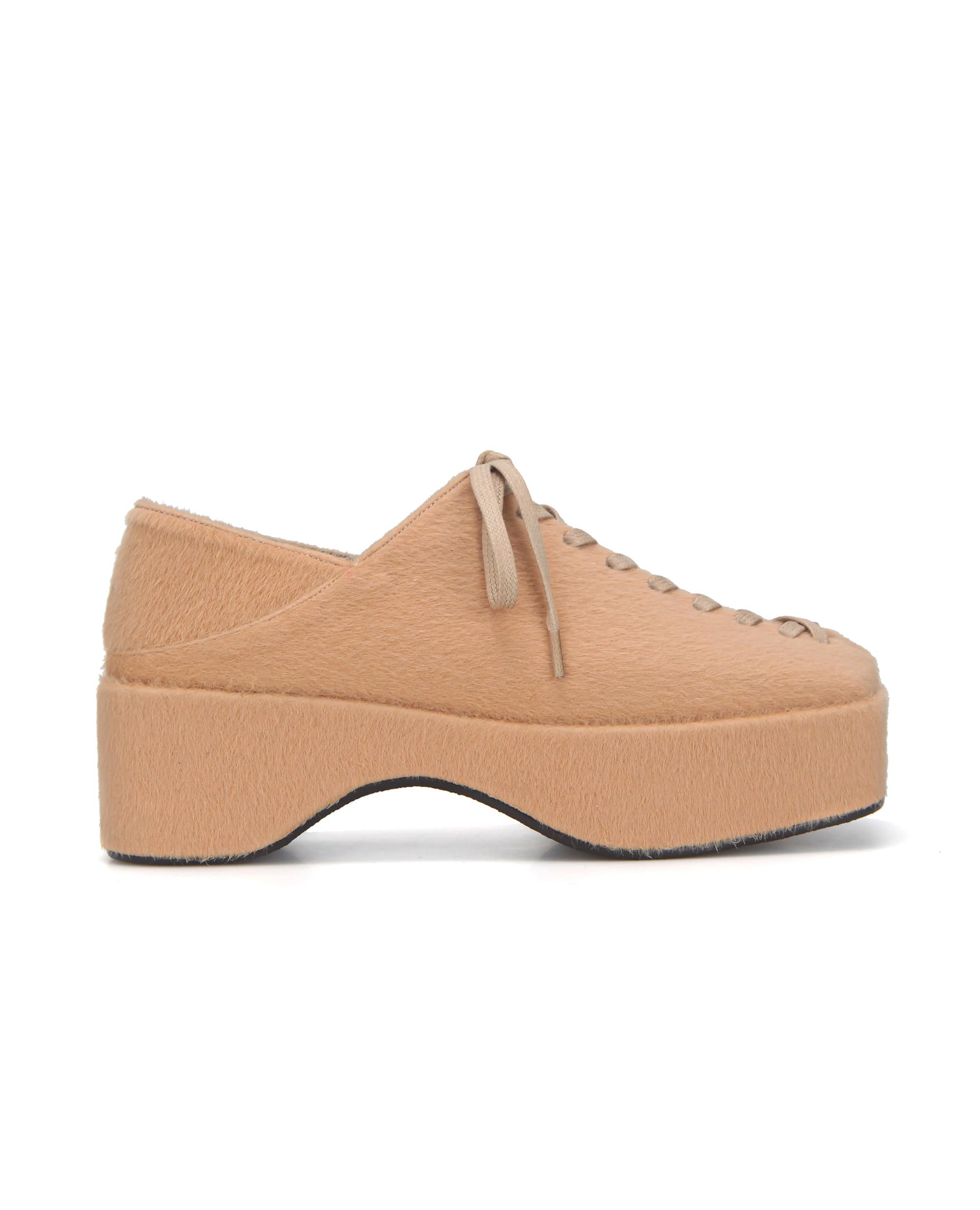 Squared toe lace up platforms | Warm beige