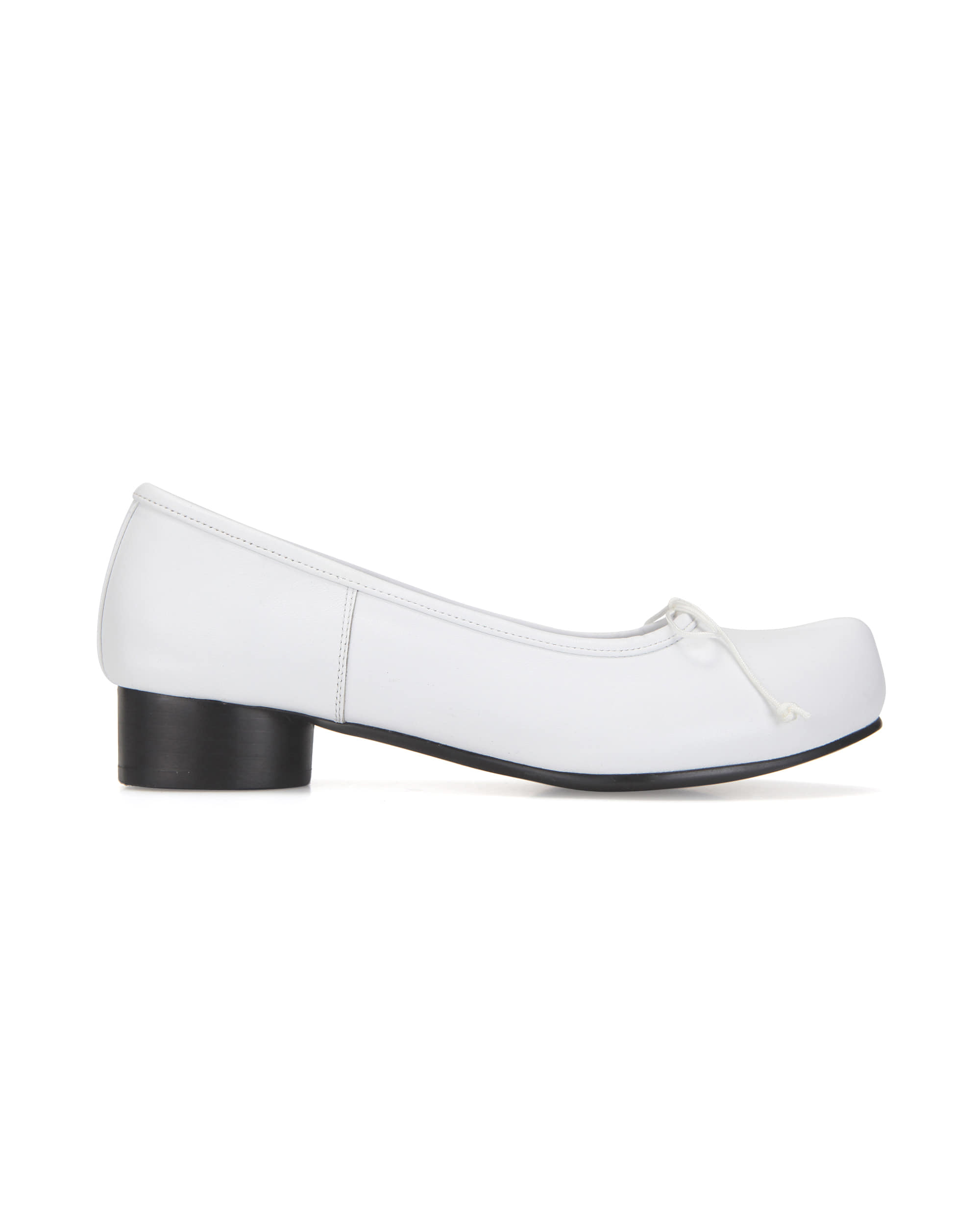 Pointed toe ballerina pumps | White