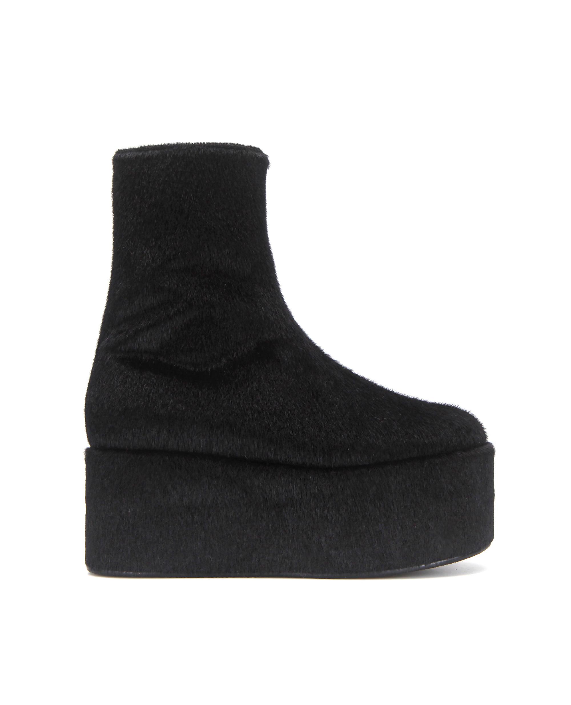Pebble toe platform boots | Warm black
