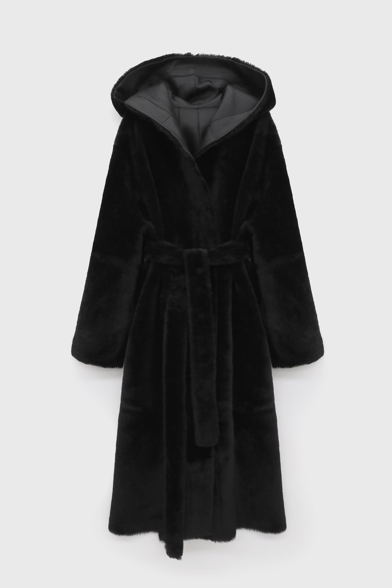 Reversible Shearling Hooded Coat