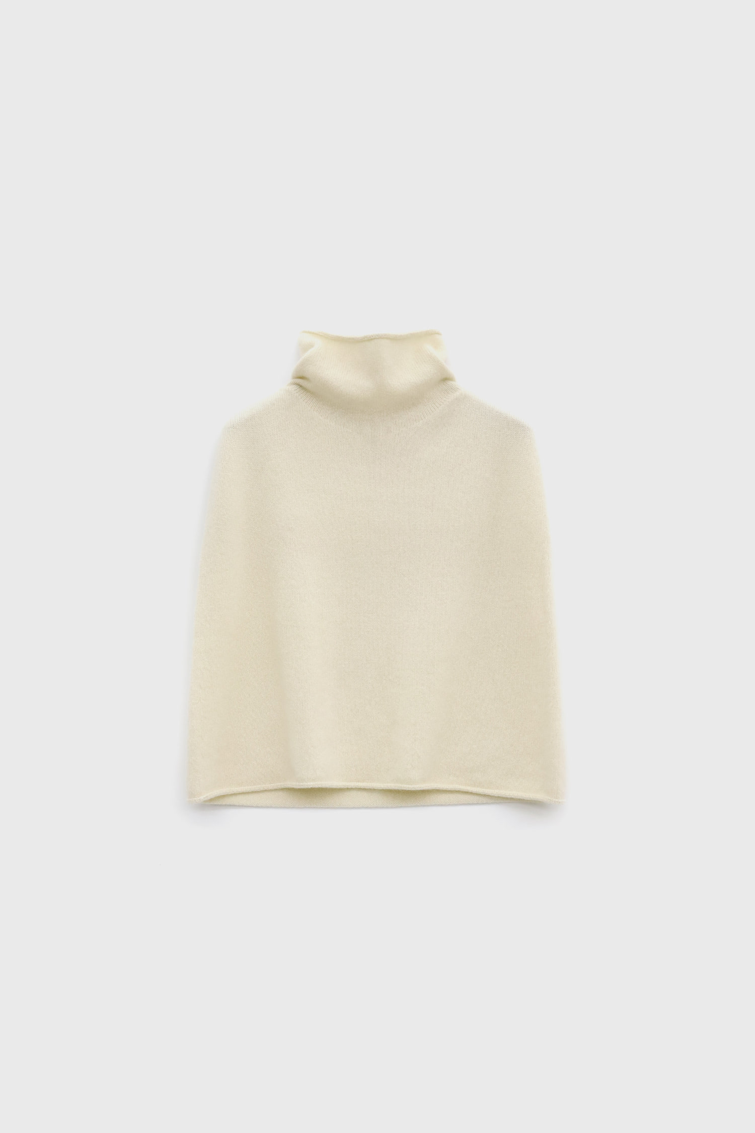 High-neck cropped knitted cape