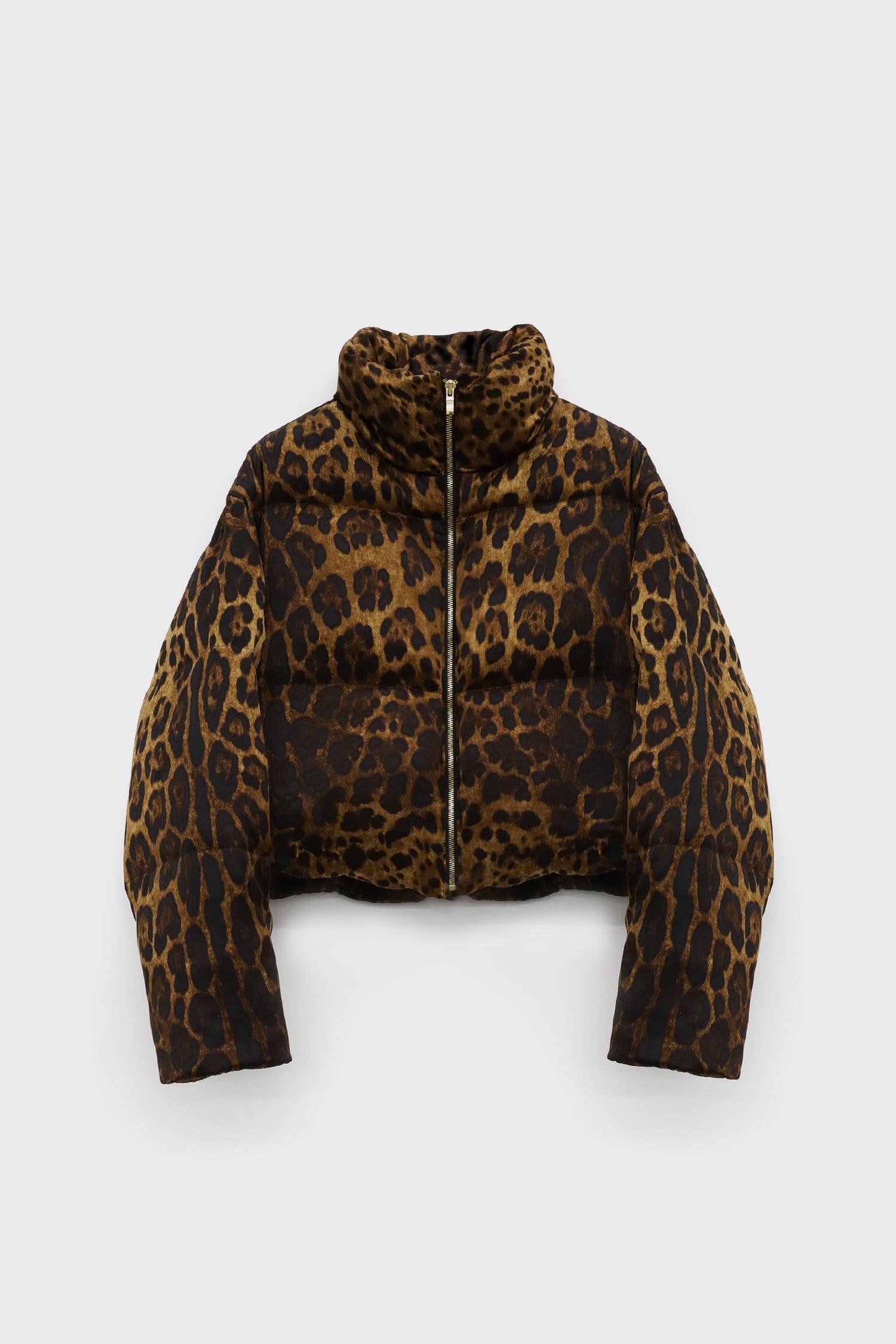 Leopard Zip Up Down Padding