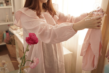 mommy, 뽀뽀는 달콤달콤 ! - adult pink cotton blouse