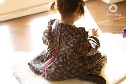 [Sale] 영화같이 예뻤던 쪼꼬미의 하루 - dark gray pink flower baby cotton 1oz dress