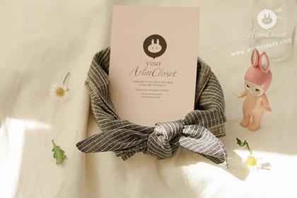 귀여운 너땜에 오늘도 웃는다 :) - line point gray cotton baby scarf (45x45)