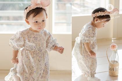 [2차제작] 아가랑 토끼가 가꾸는 작고 예쁜 정원에서 - rabbit & flower lace baby cotton bodysuit