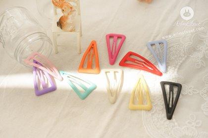 [2차입고] 쪼로록 베이직한 쪼꼬미의 세모 똑딱핀 - 10color basic triangle pin (3ea set)