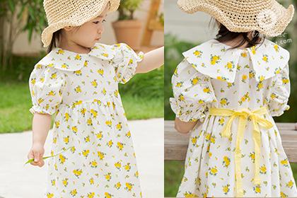 [5차제작] 유채꽃밭에서 쪼꼬미의 작은 손잡고서.. - cute yellow flower lace ribbon linen + cotton baby dress