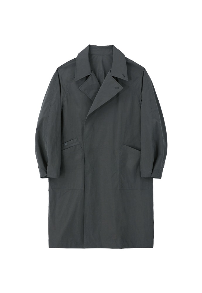 Double Breasted Paper Coat_ Charcoal