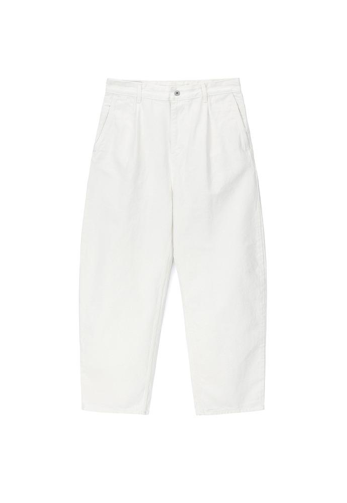 One Tuck Curve Denim Pants_ Off White