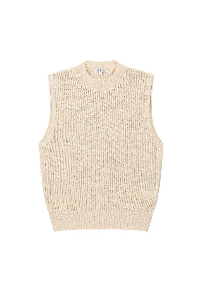 Plain Knit Vest_ Cream