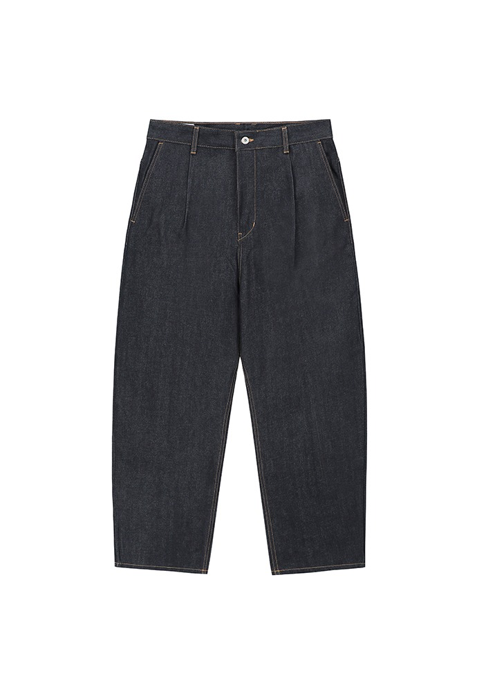 One Tuck Curve Denim Pants_ Non-Washed Blue